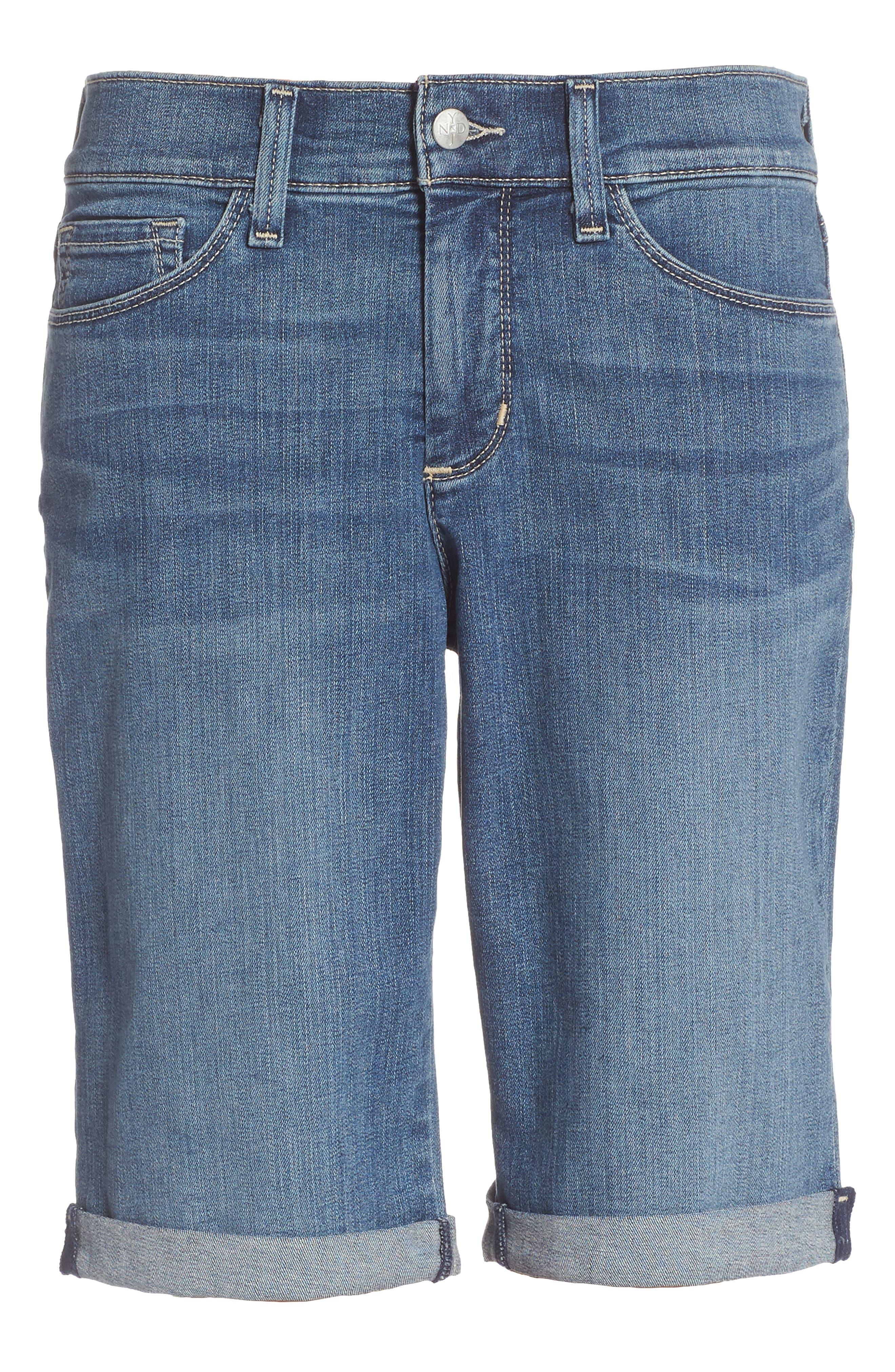 Briella Roll Cuff Stretch Denim Shorts,                         Main,                         color, 421