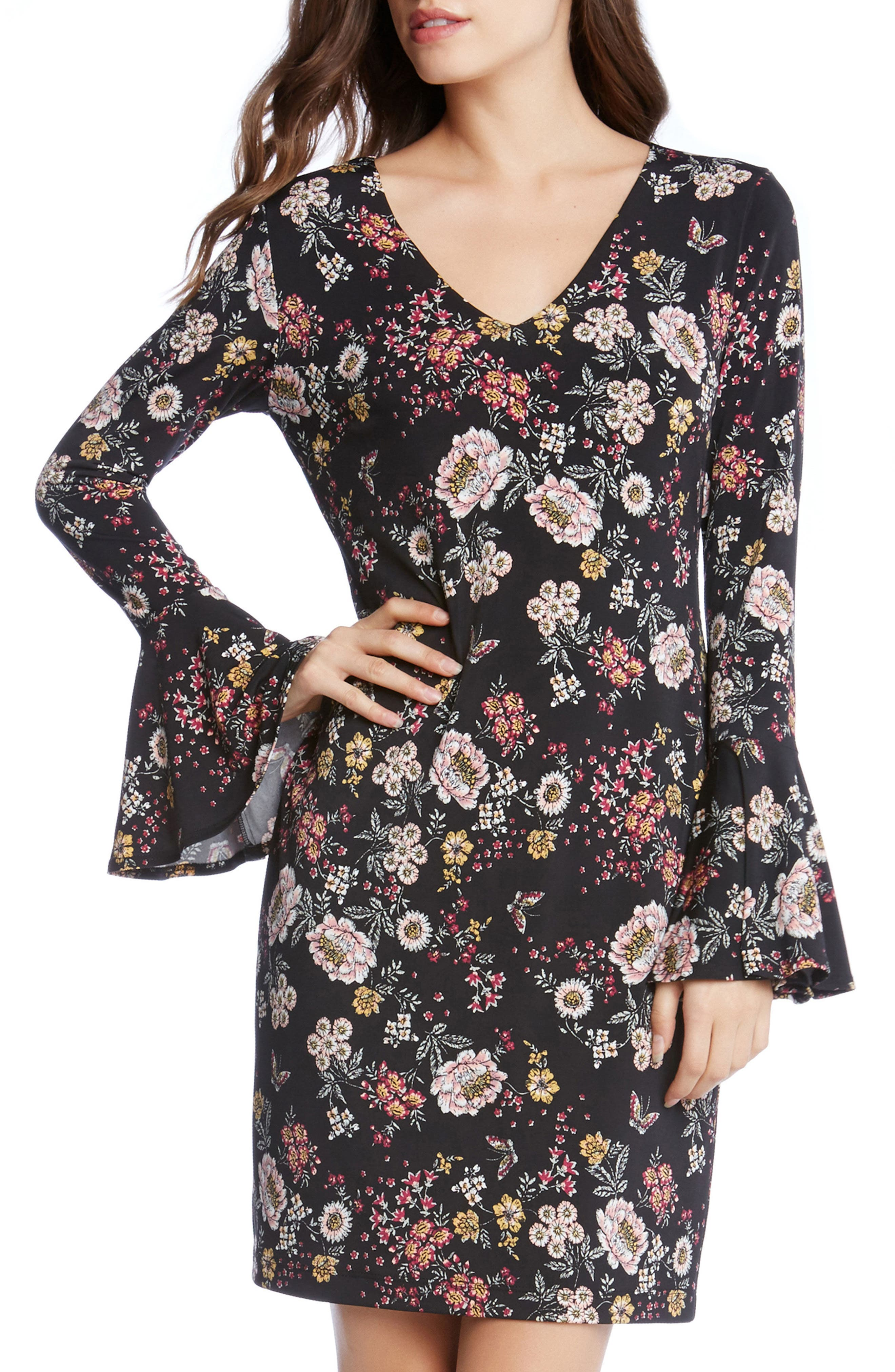 Floral V-Neck Bell Sleeve Dress,                             Main thumbnail 1, color,                             003