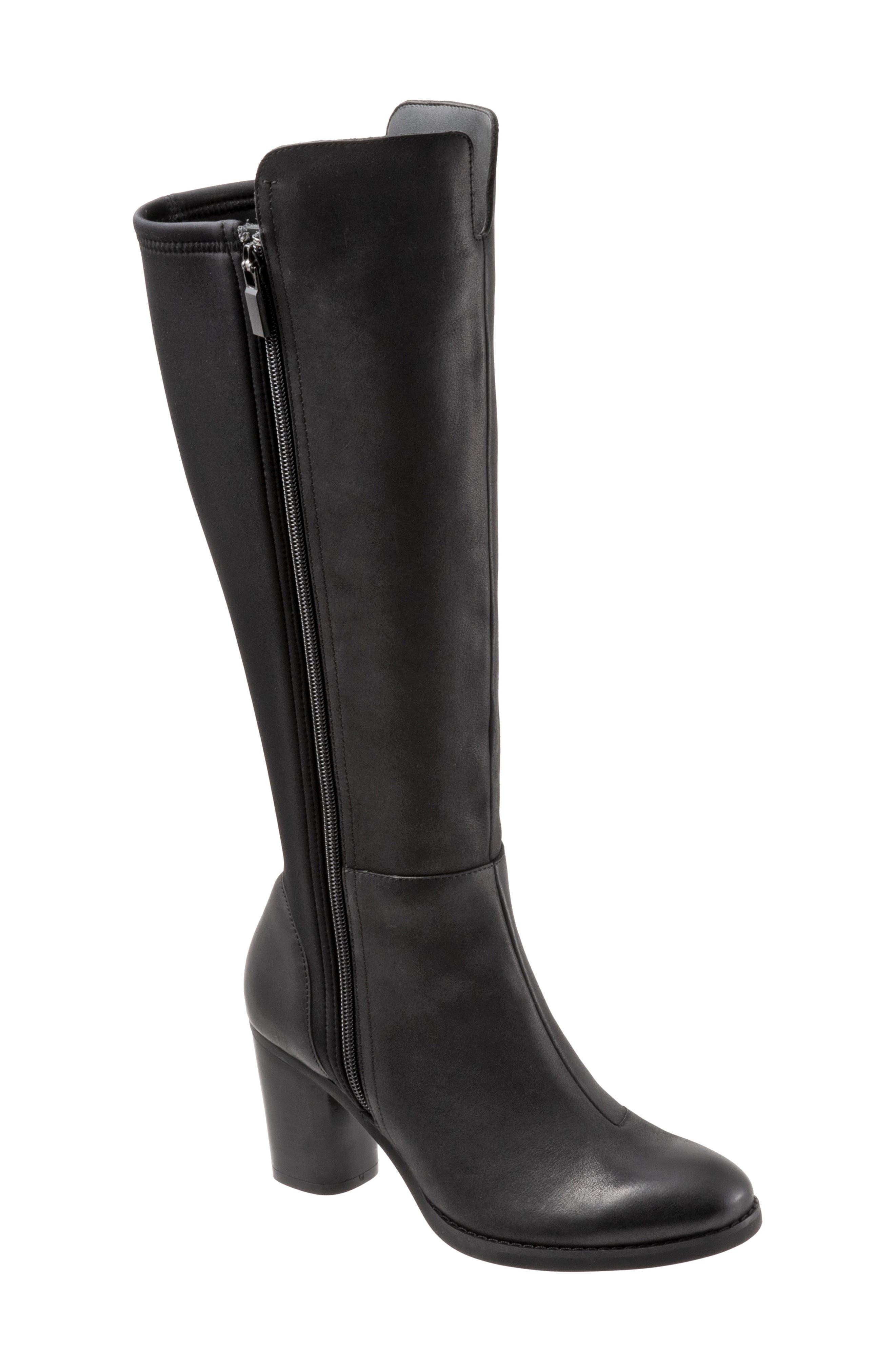 Katia Knee High Boot,                         Main,                         color, BLACK LEATHER