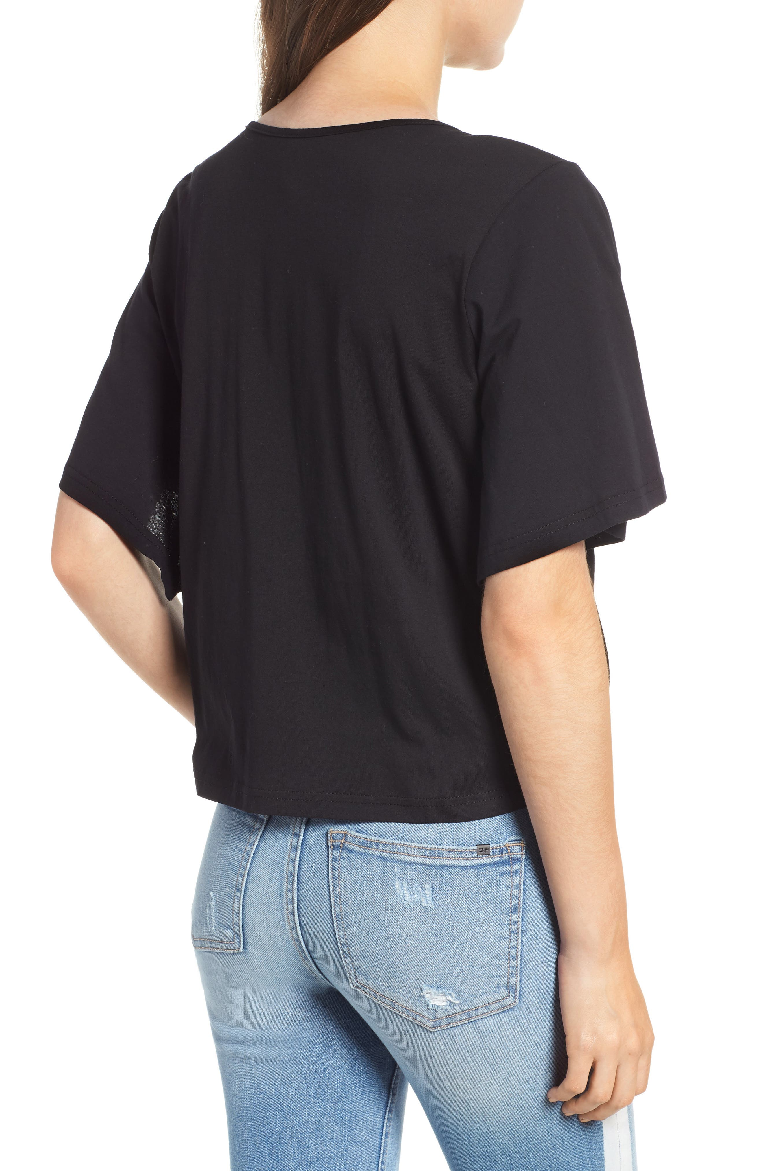 Knot Front Flutter Sleeve Tee,                             Alternate thumbnail 2, color,                             001