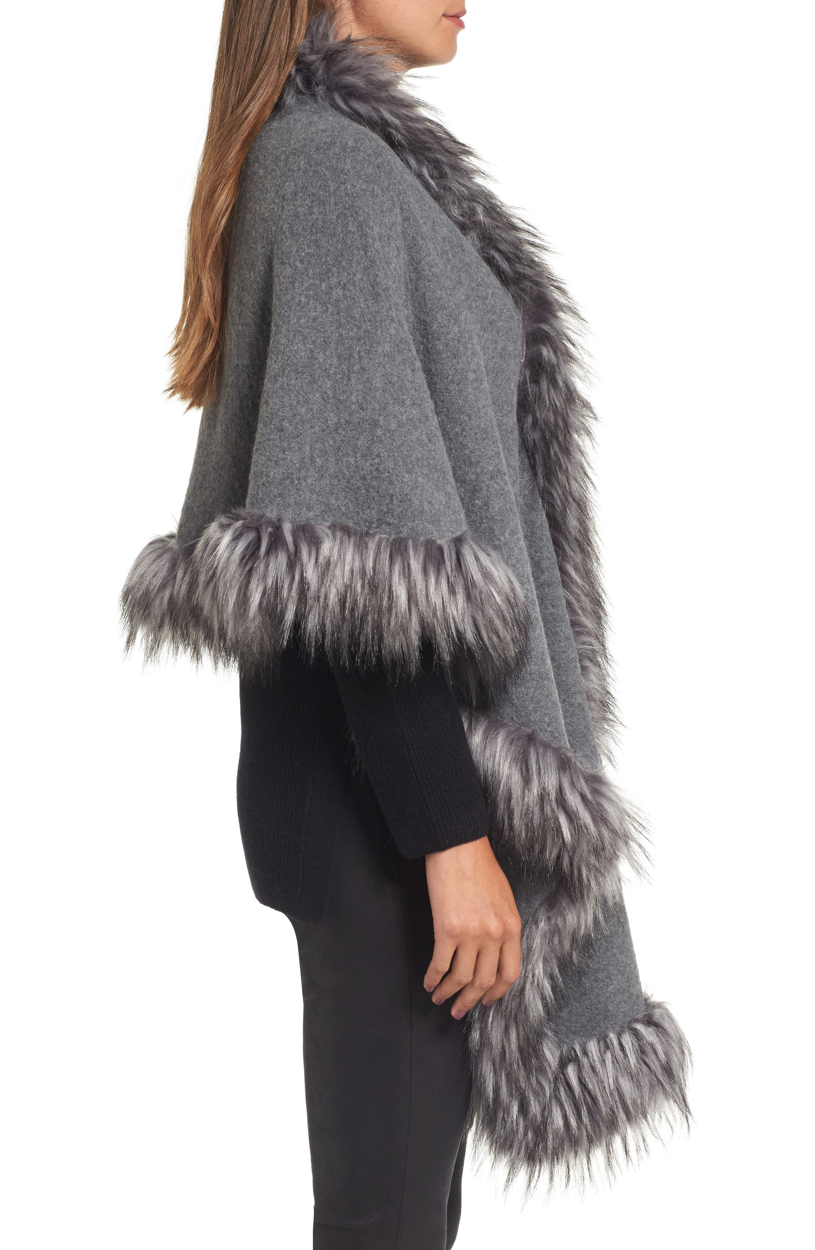 Knit Poncho with Faux Fur Trim,                             Alternate thumbnail 3, color,                             030