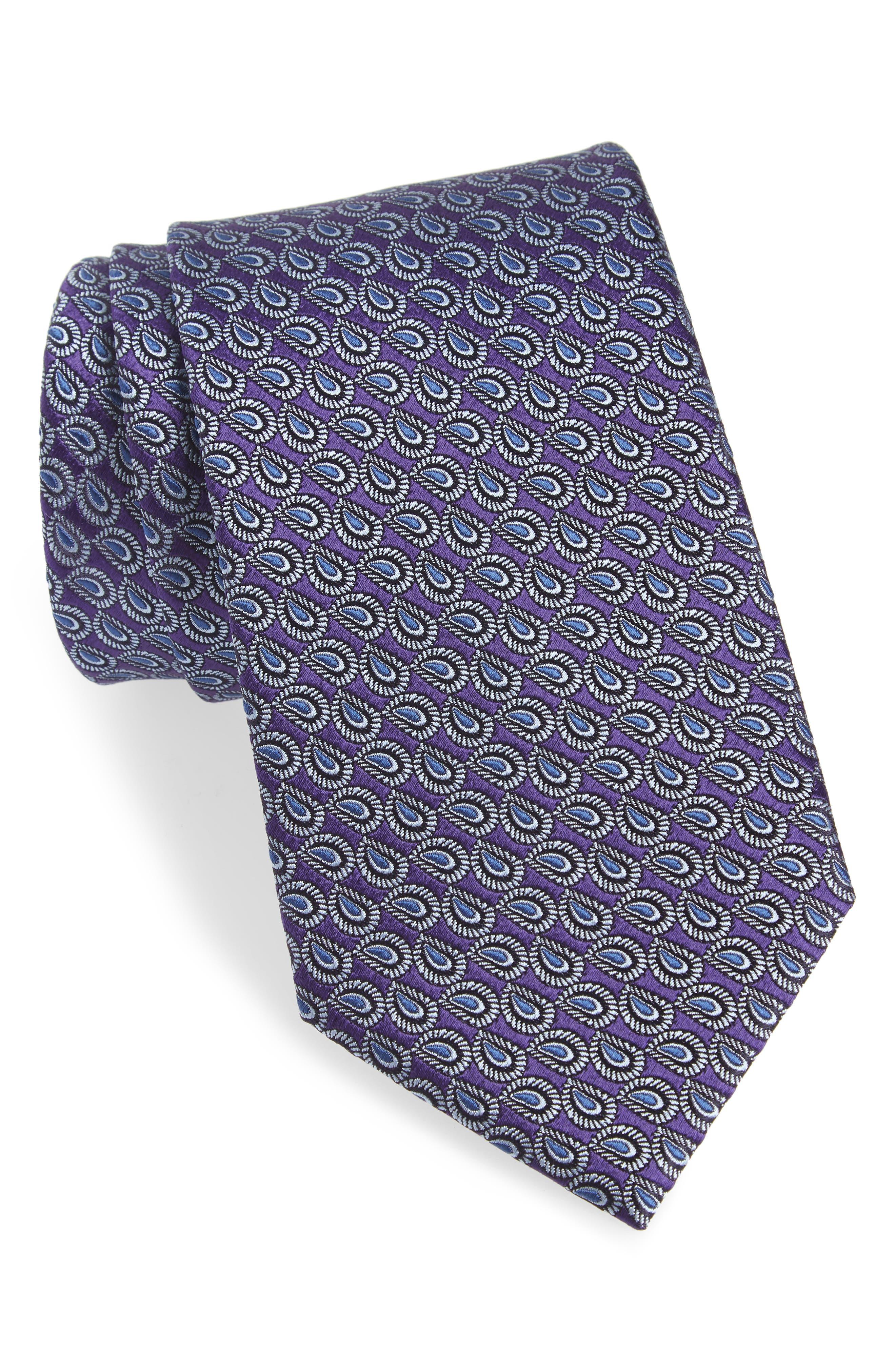 Paisley Silk Tie,                         Main,                         color, PURPLE