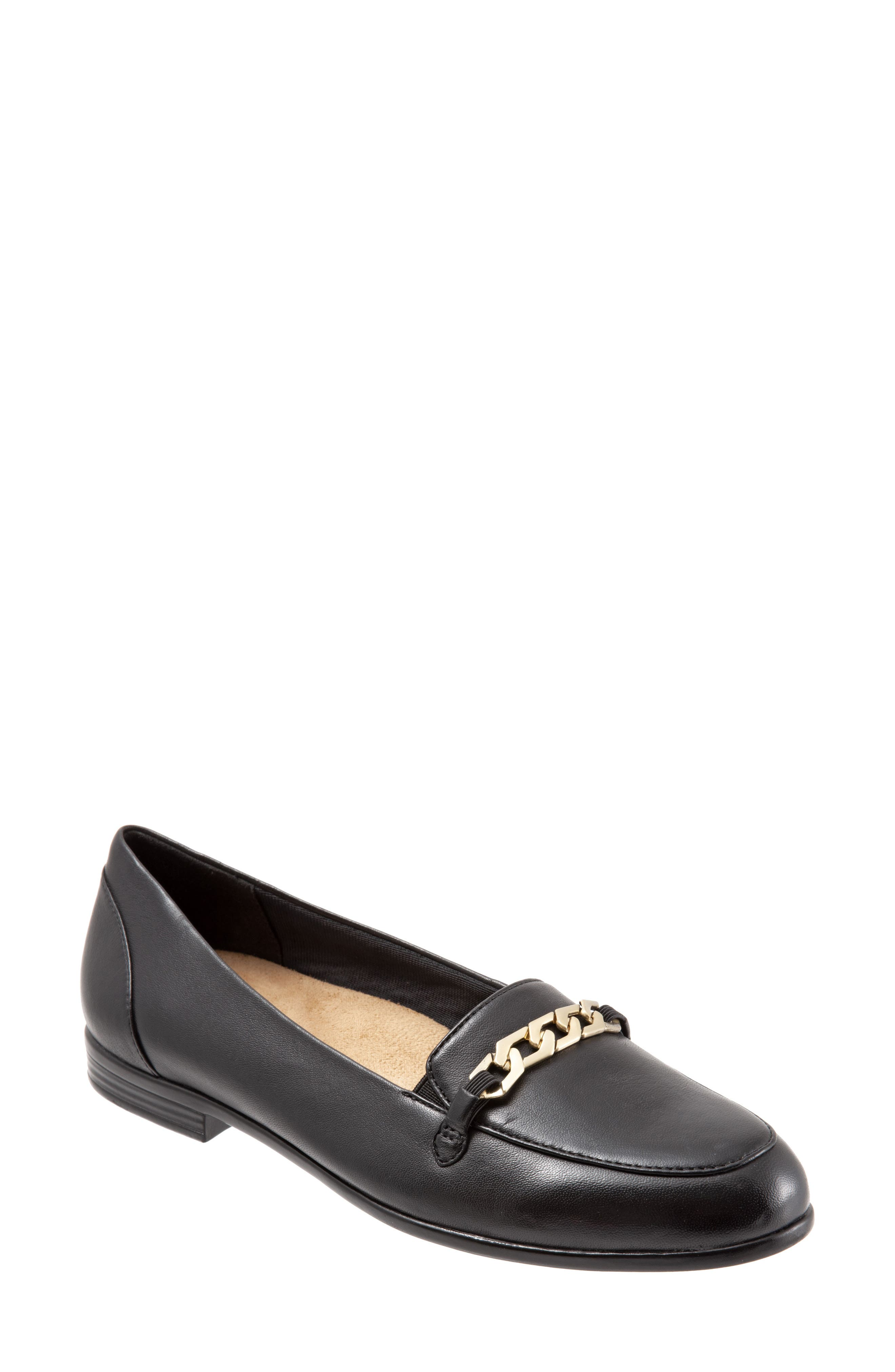 Anastasia Flat,                             Main thumbnail 1, color,                             DARK BLACK LEATHER