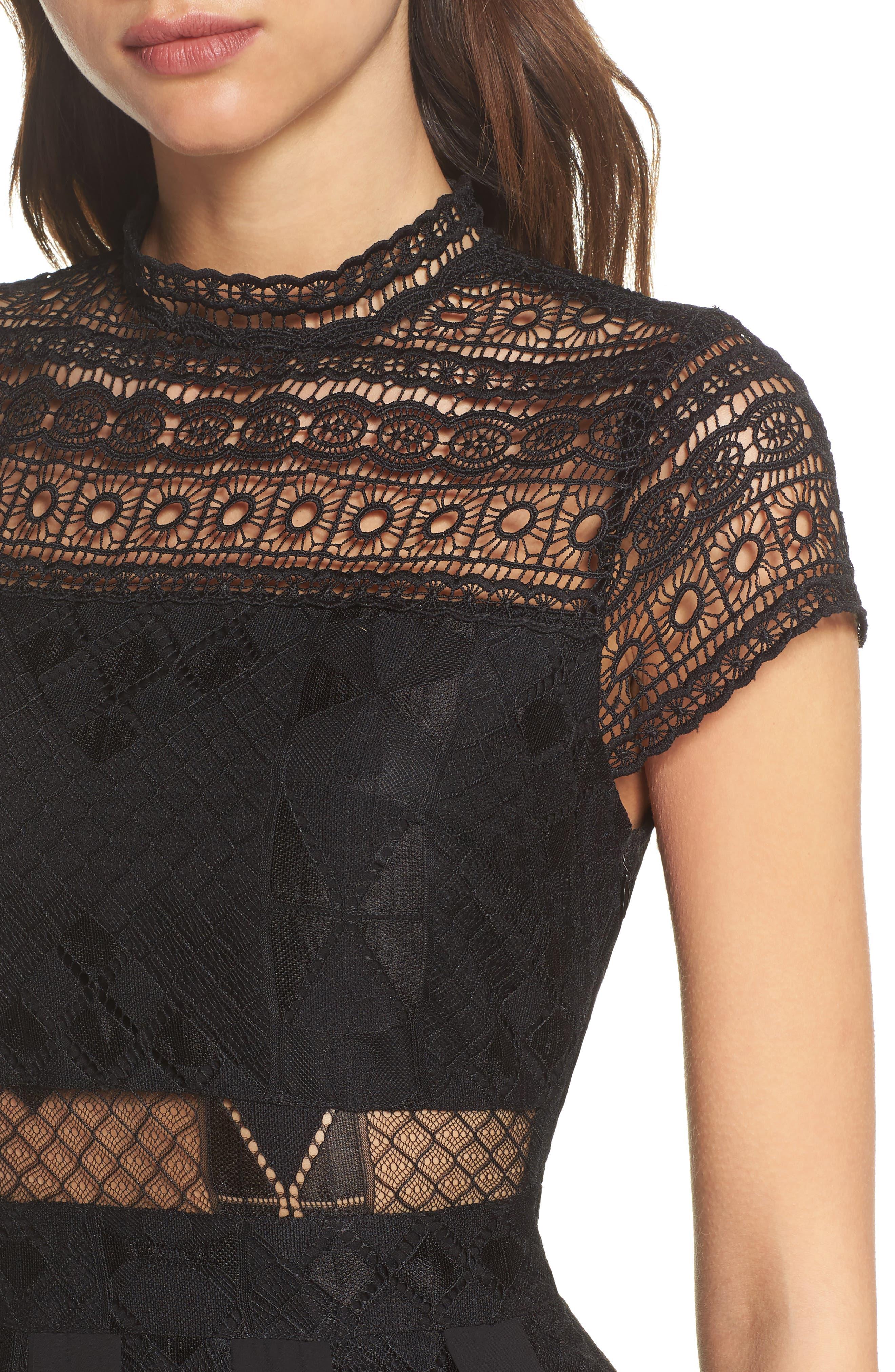 Calla Lace Midi Dress,                             Alternate thumbnail 4, color,                             001