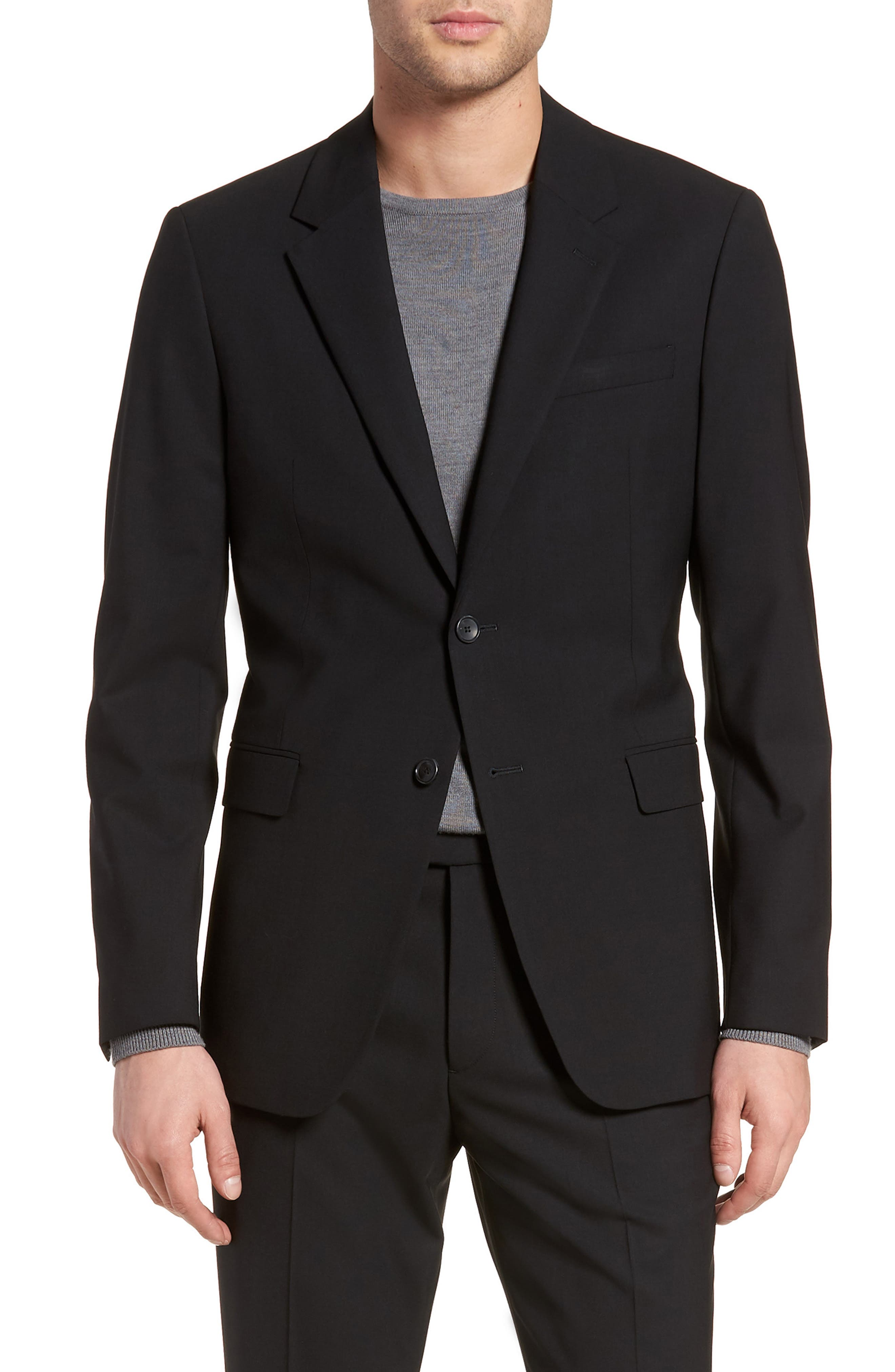 Chambers Slim Fit Stretch Wool Blazer,                             Main thumbnail 1, color,                             BLACK
