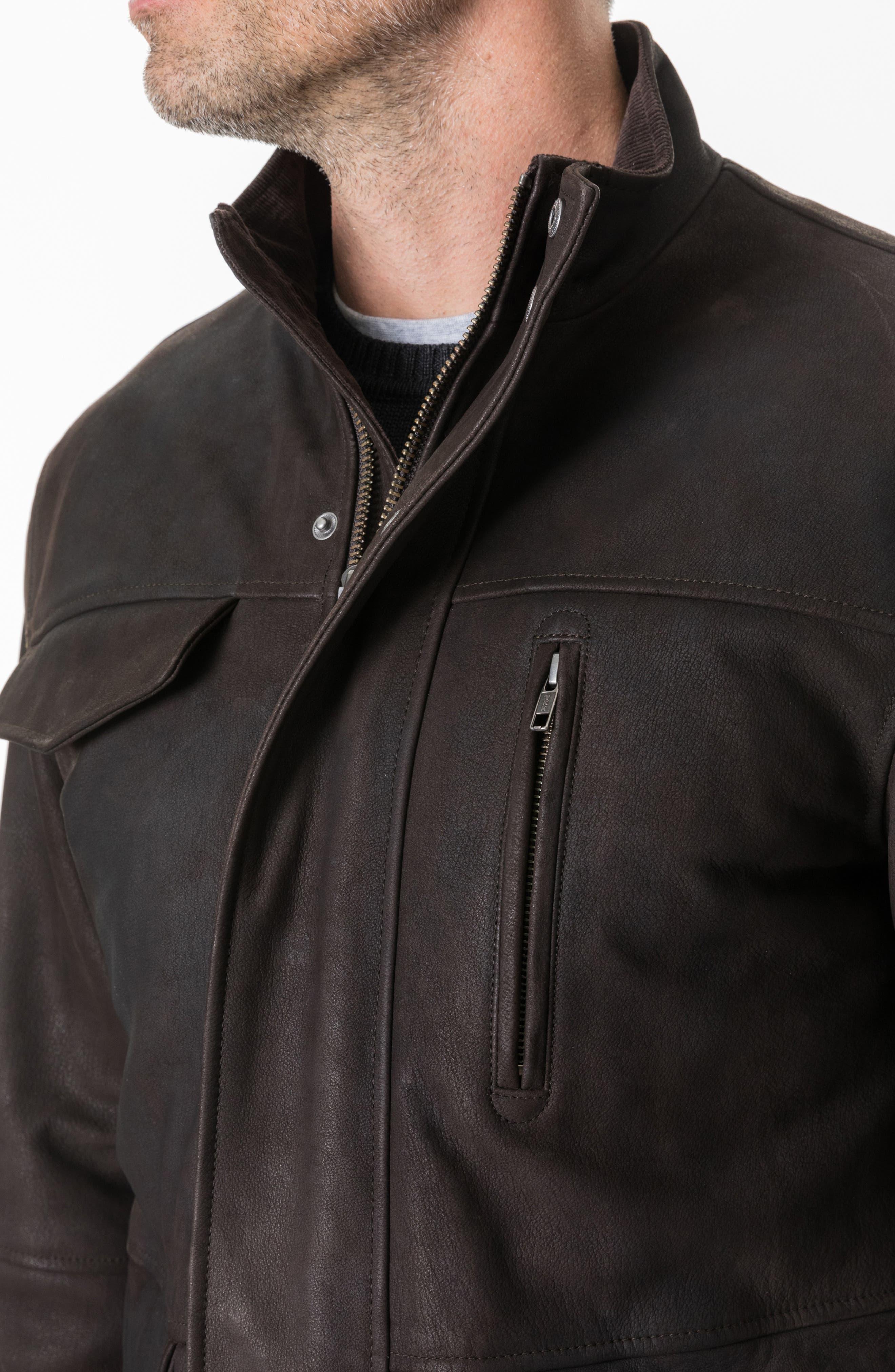 Fairholme Leather Jacket,                             Alternate thumbnail 5, color,                             CHOCOLATE