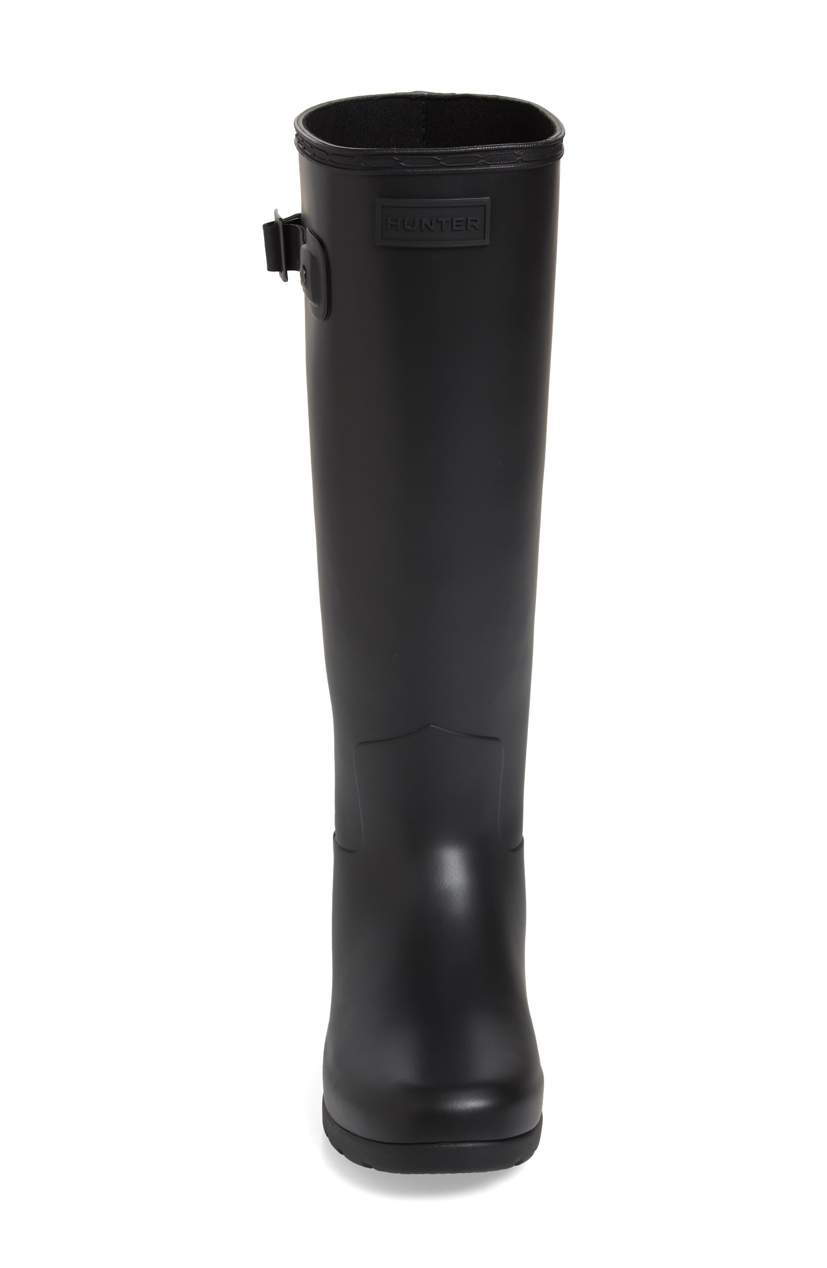 HUNTER,                             Original Refined Waterproof Rain Boot,                             Alternate thumbnail 4, color,                             BLACK REGULAR