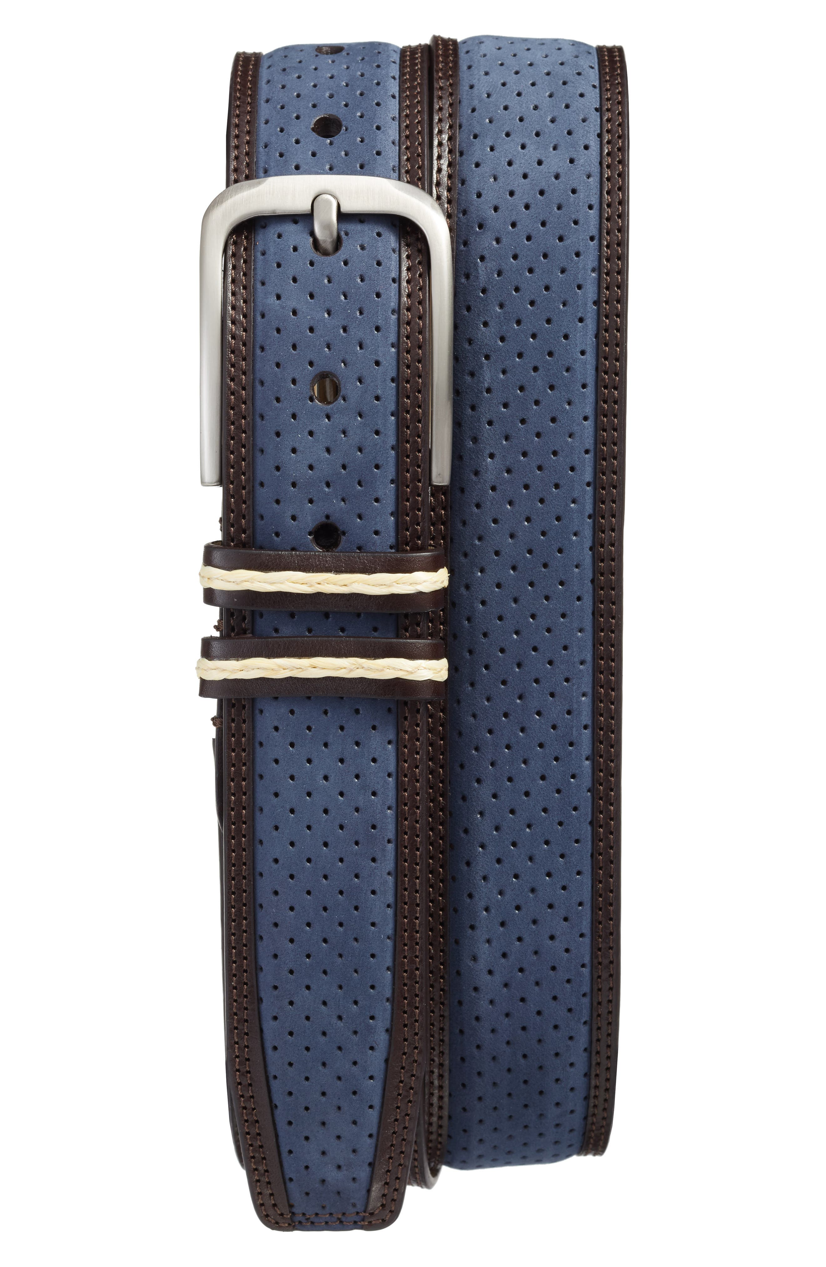 Nobuk Leather Belt,                         Main,                         color, BLUE BROWN
