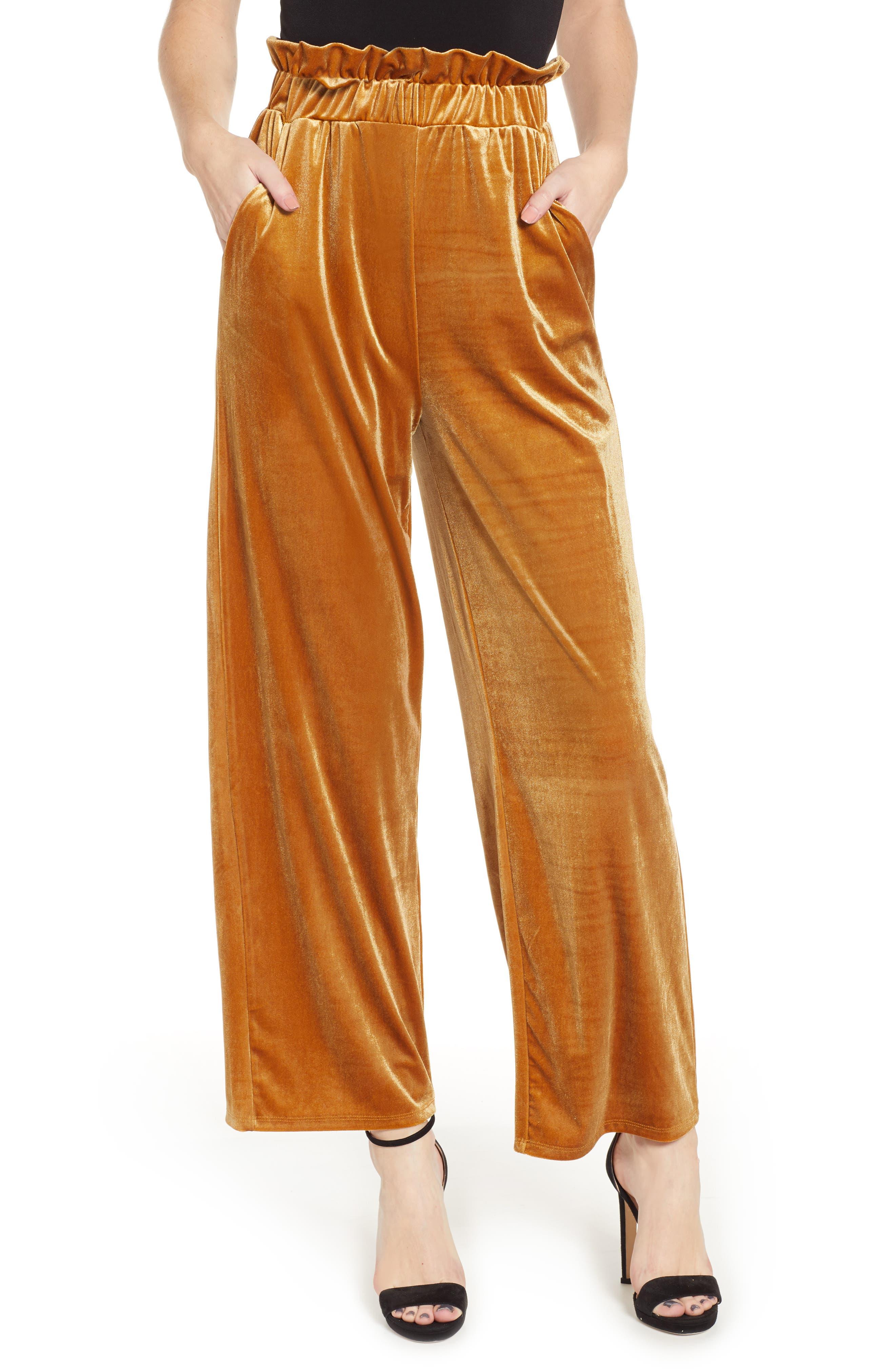 Velvet Wide Leg Pants,                             Main thumbnail 1, color,                             GOLD