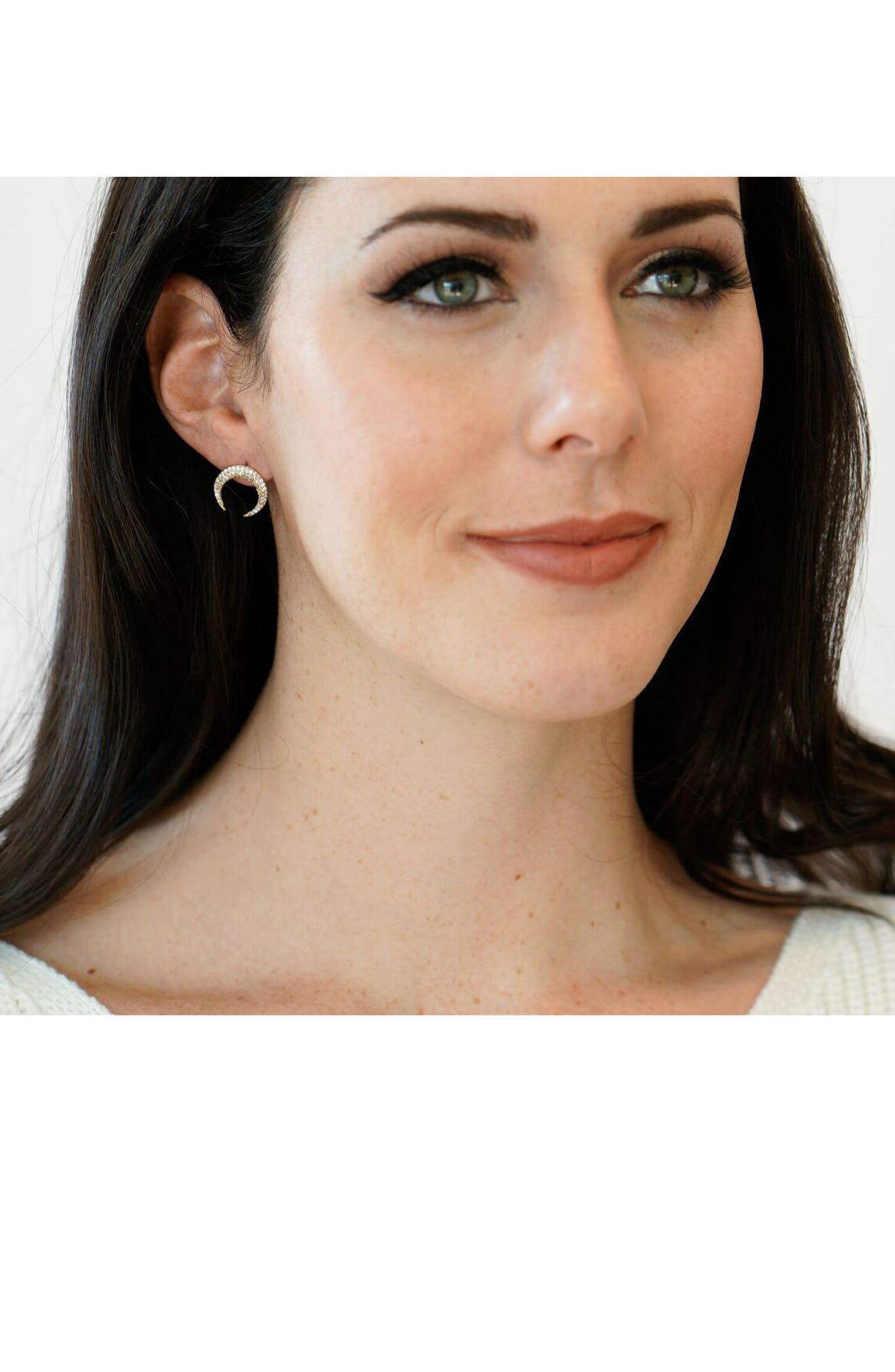 Crystal Horn Earrings,                             Alternate thumbnail 3, color,                             710