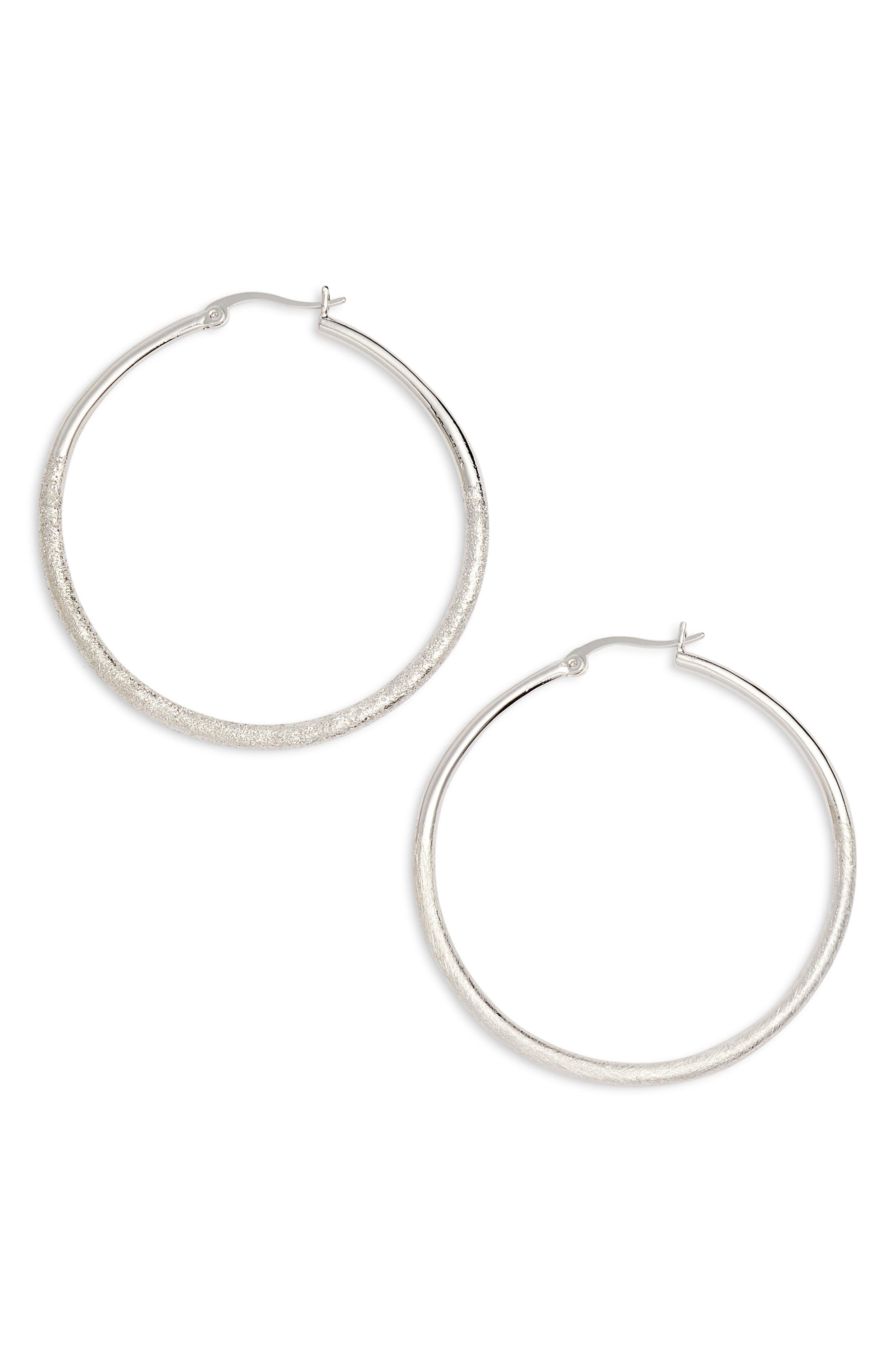Fine Texture Medium Hoop Earrings,                             Main thumbnail 1, color,                             RHODIUM