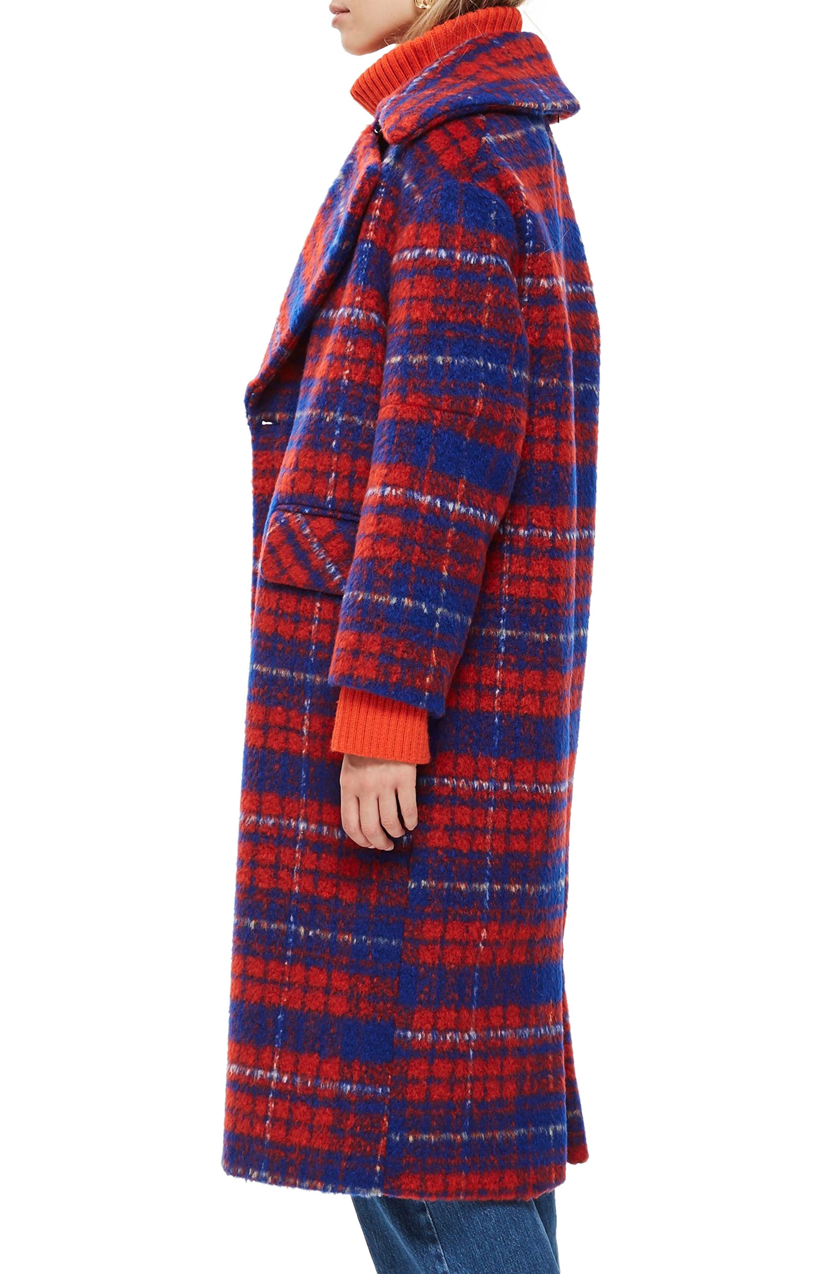 Bodika Check Coat,                             Alternate thumbnail 3, color,                             RED MULTI