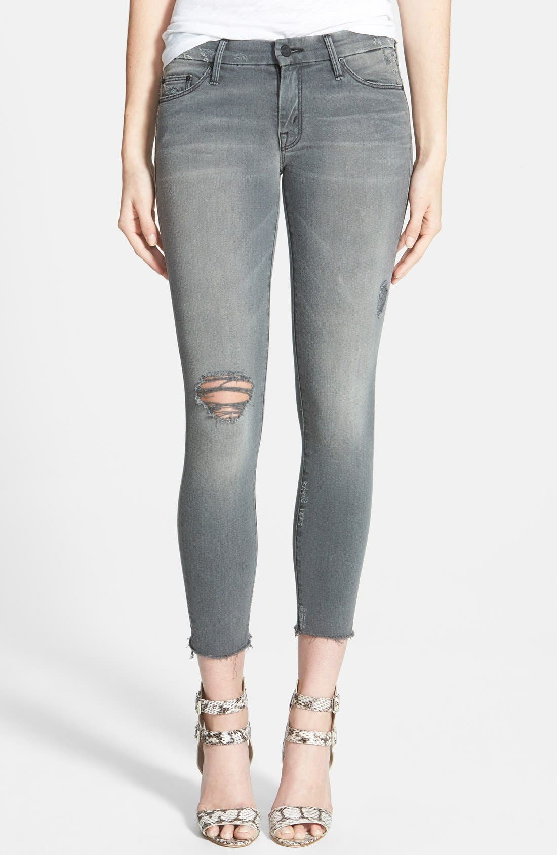 Frayed Ankle Jeans,                             Main thumbnail 1, color,                             020