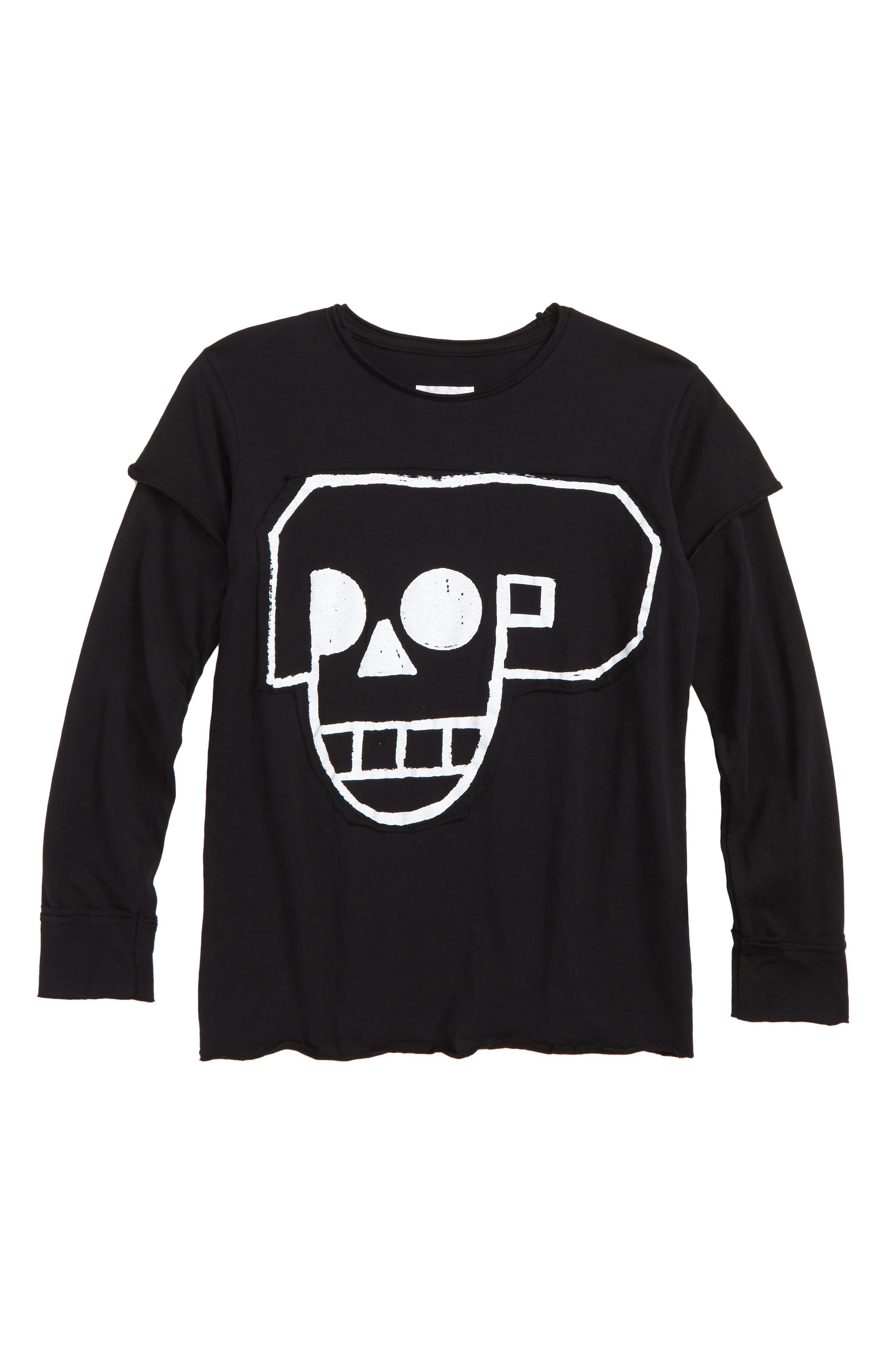 Skull Robot Patch T-Shirt,                         Main,                         color, BLACK