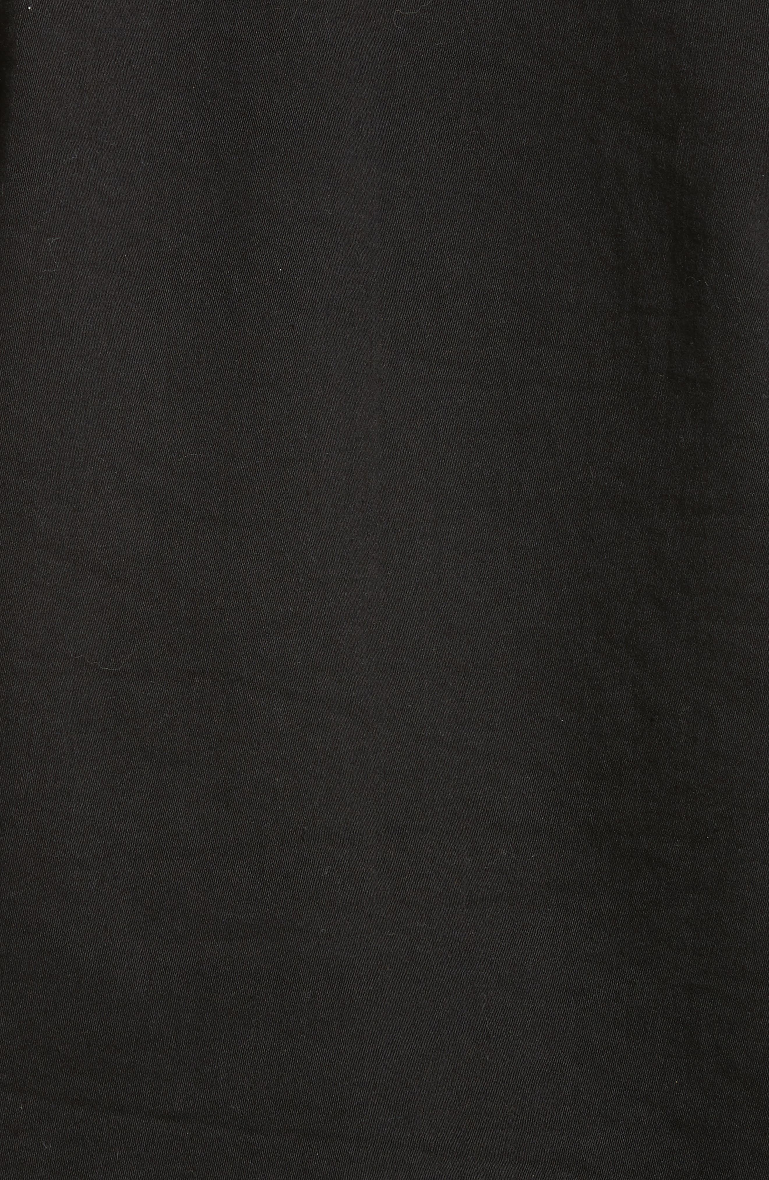 Ruffle Collar Crop Denim Jacket,                             Alternate thumbnail 6, color,                             001