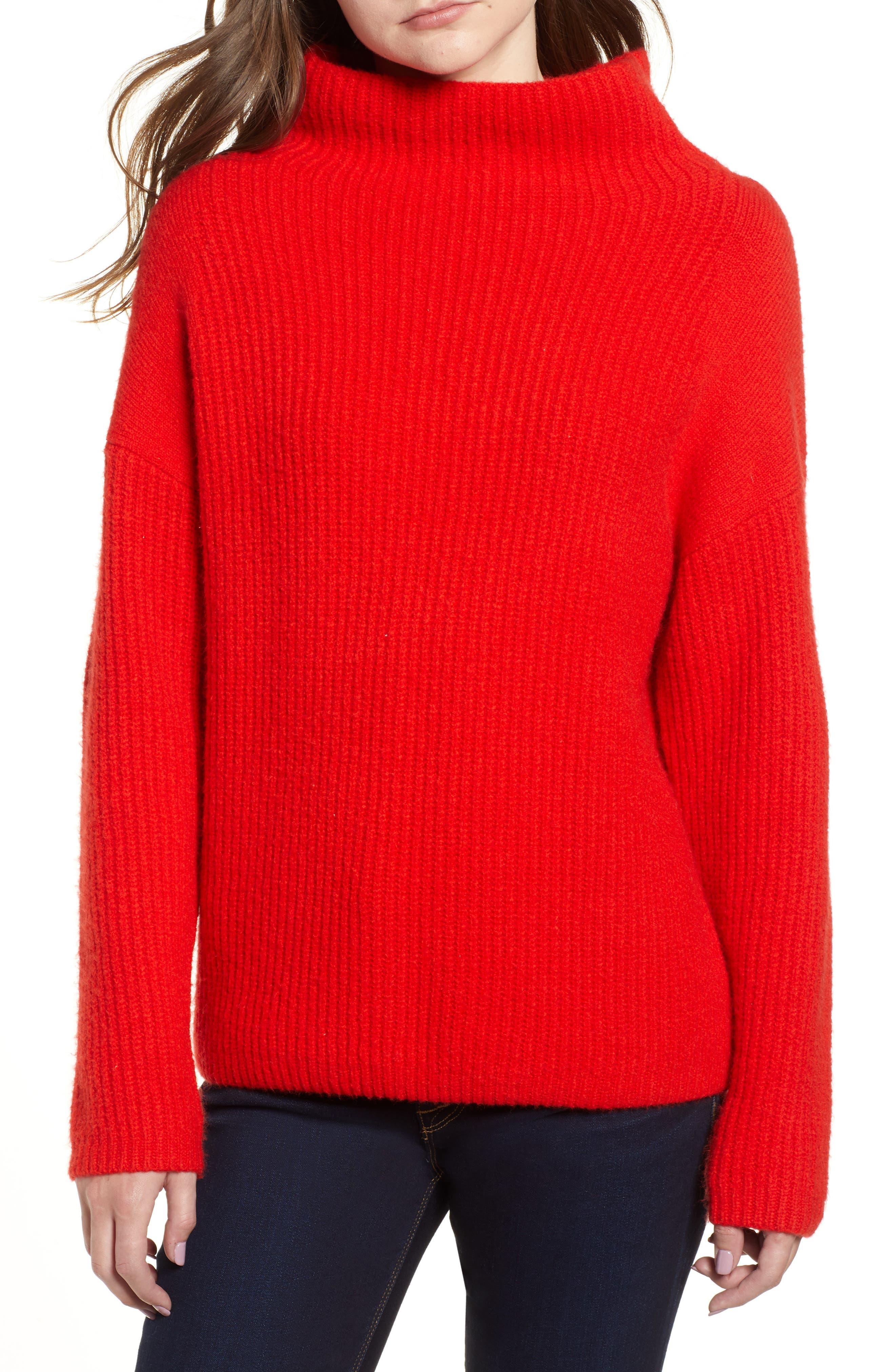 CHELSEA28 Rib Funnel Neck Sweater, Main, color, 610