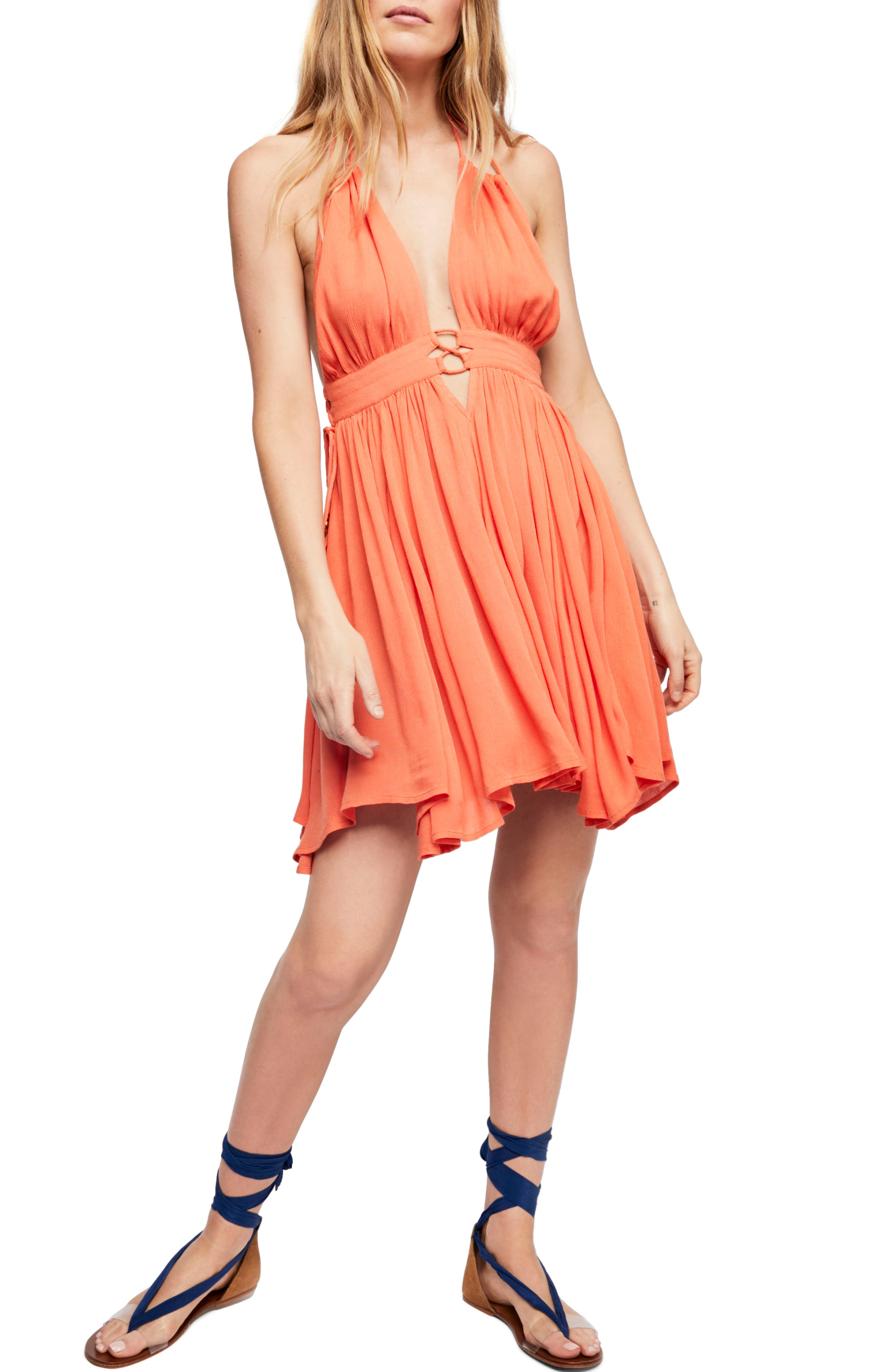 Endless Summer by Free People Electric Feelin' Dress,                             Main thumbnail 1, color,                             PAPAYA