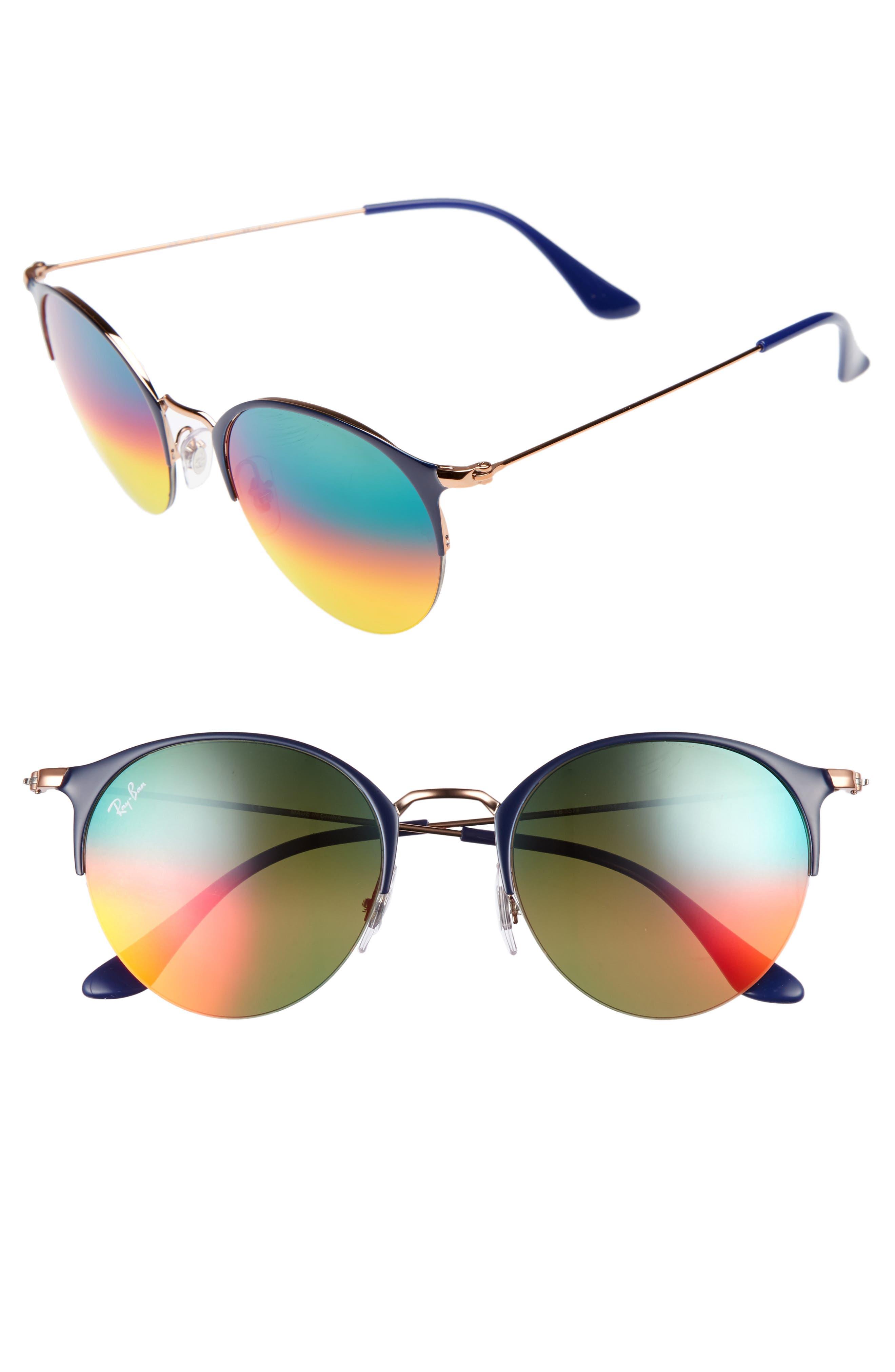 50mm Gradient Mirrored Sunglasses,                             Main thumbnail 2, color,