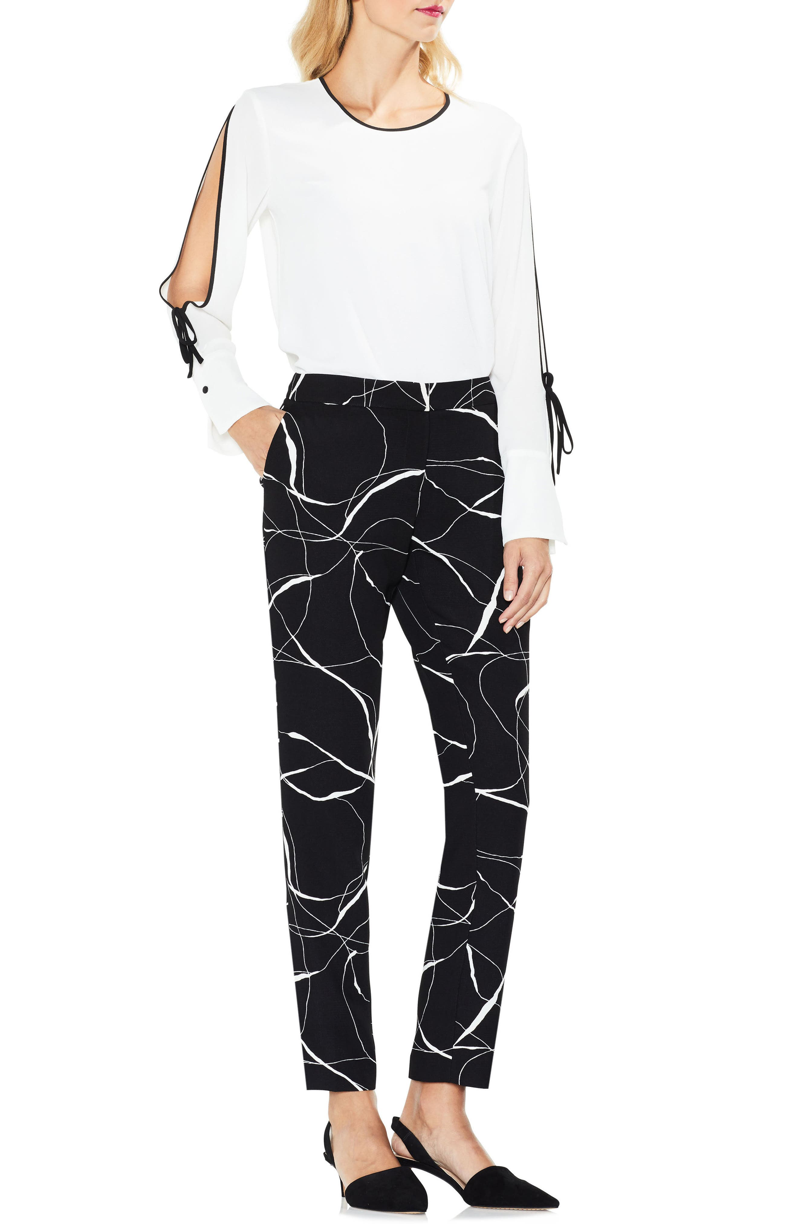 Ink Swirl Print Ankle Pants,                         Main,                         color, 010