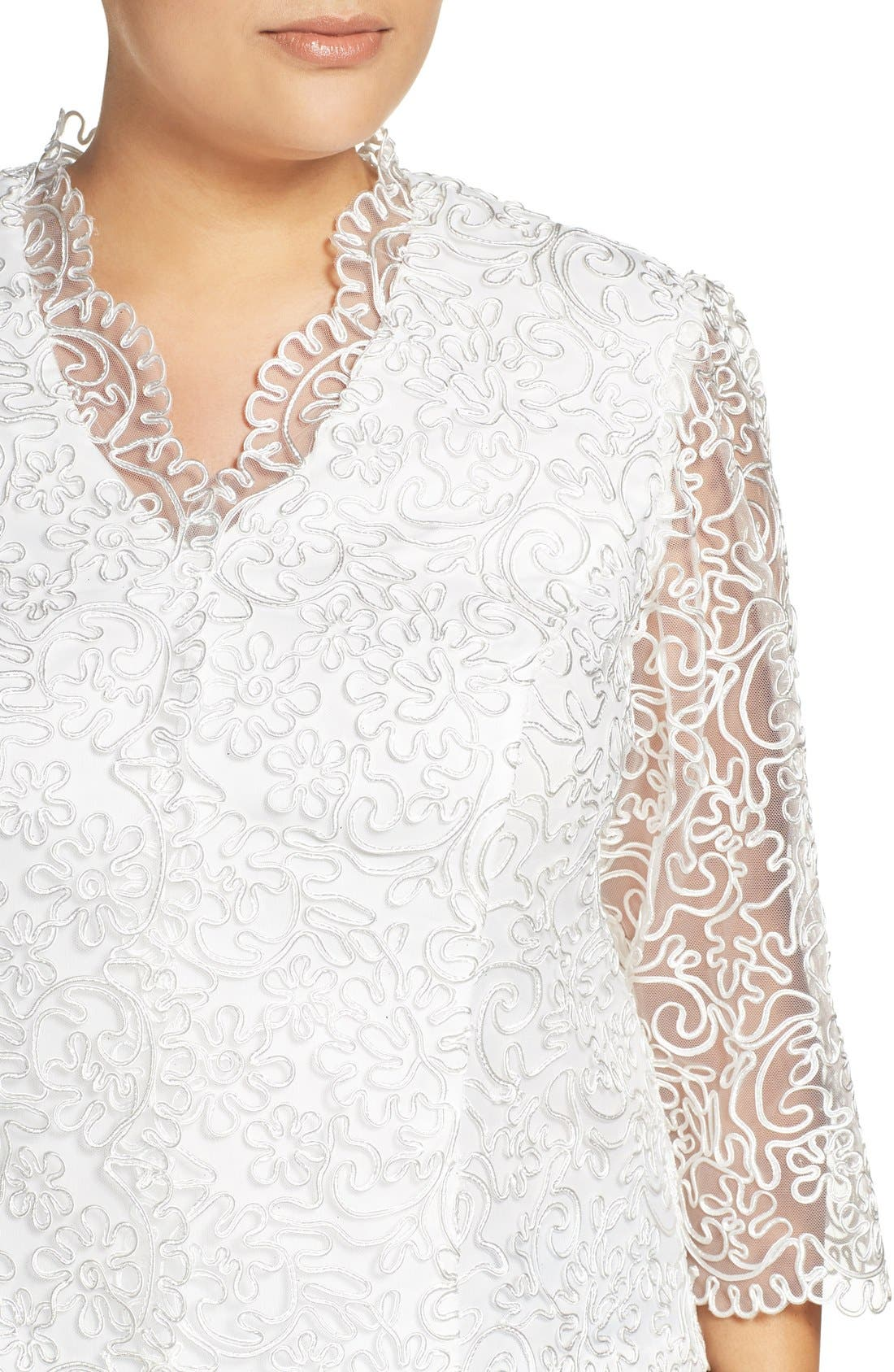Embroidered Illusion Sleeve Blouse,                             Alternate thumbnail 14, color,