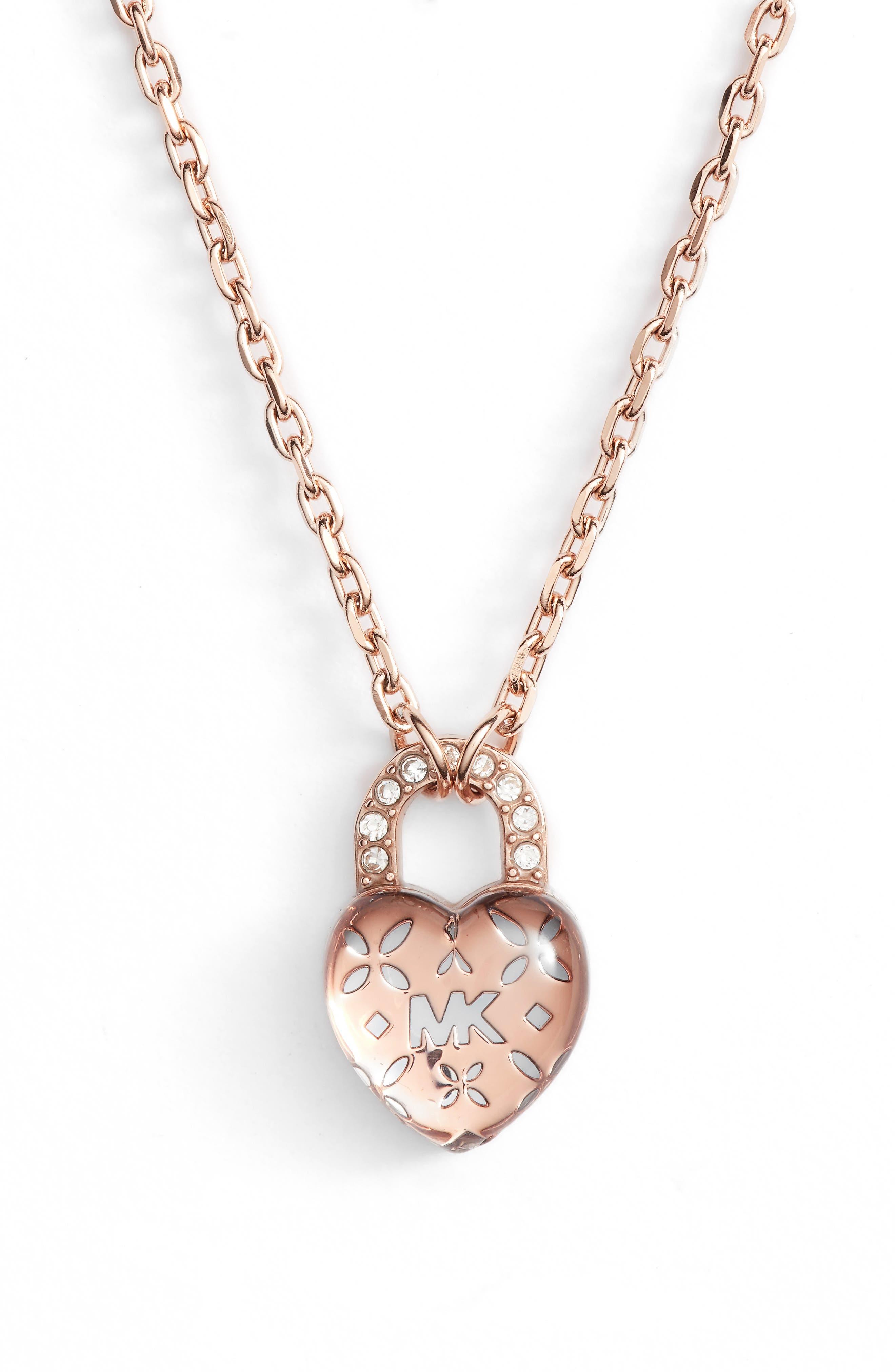 Heart Padlock Pendant Necklace,                         Main,                         color, 650