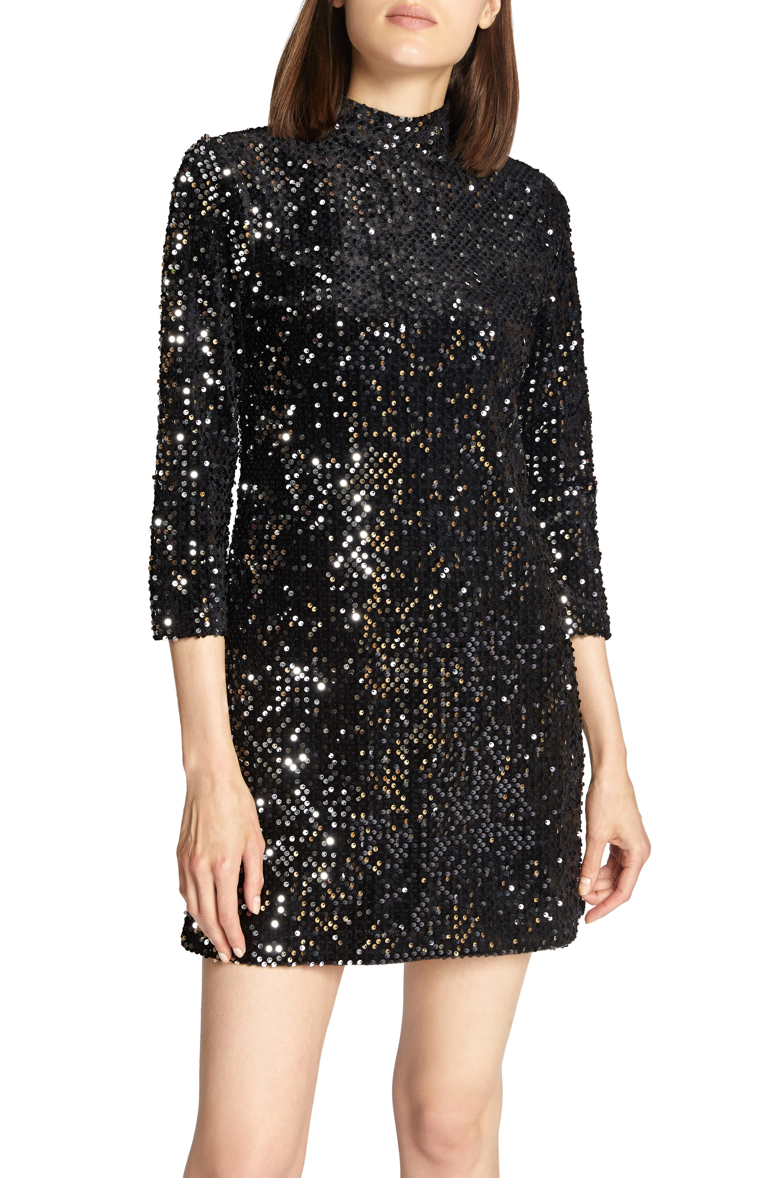 Keep Your Heads Up Sequin Shift Dress,                             Main thumbnail 1, color,                             BLACK/ SILVER