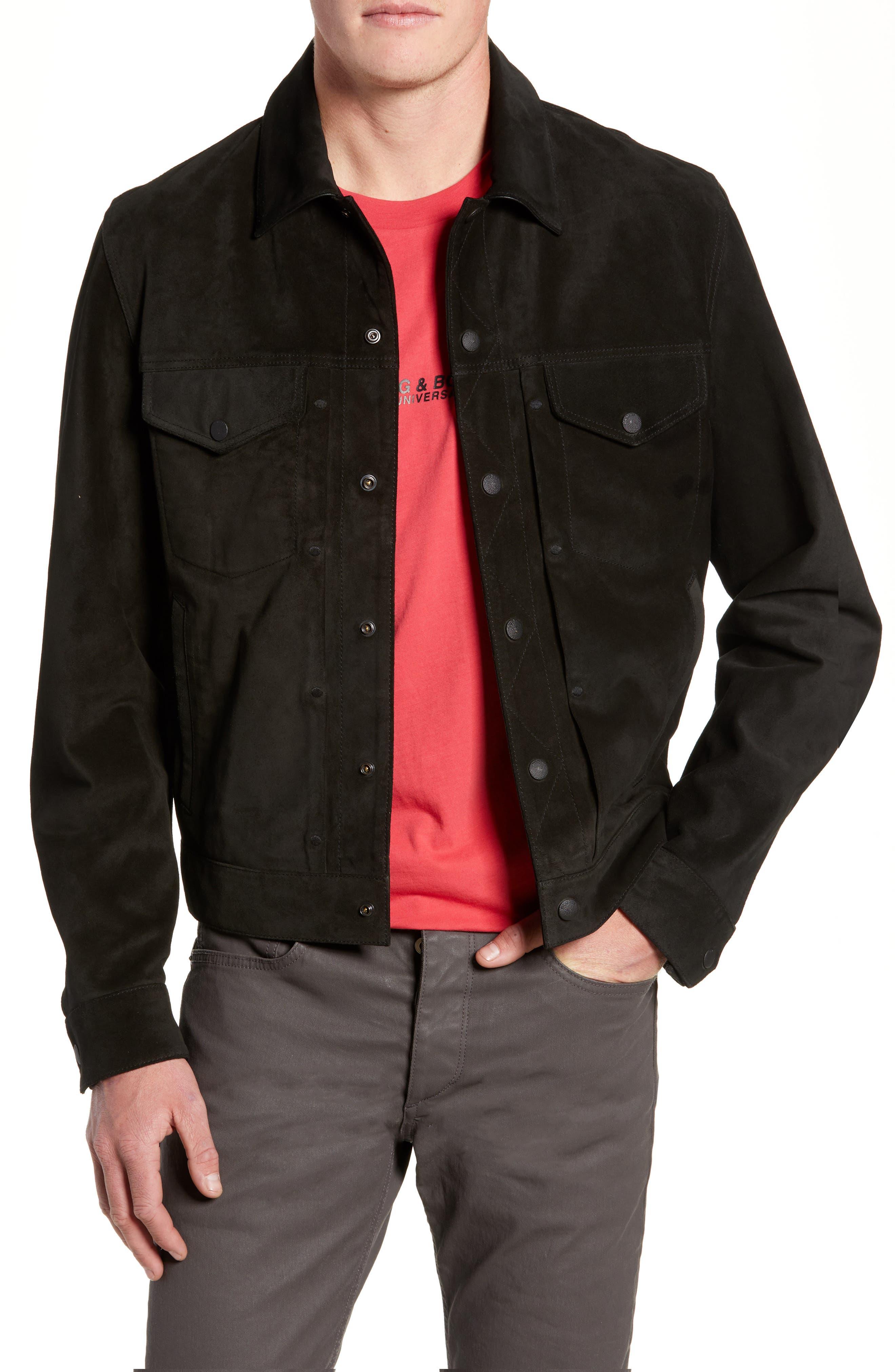 Suede Slim Fit Trucker Jacket,                             Main thumbnail 1, color,                             BLACK