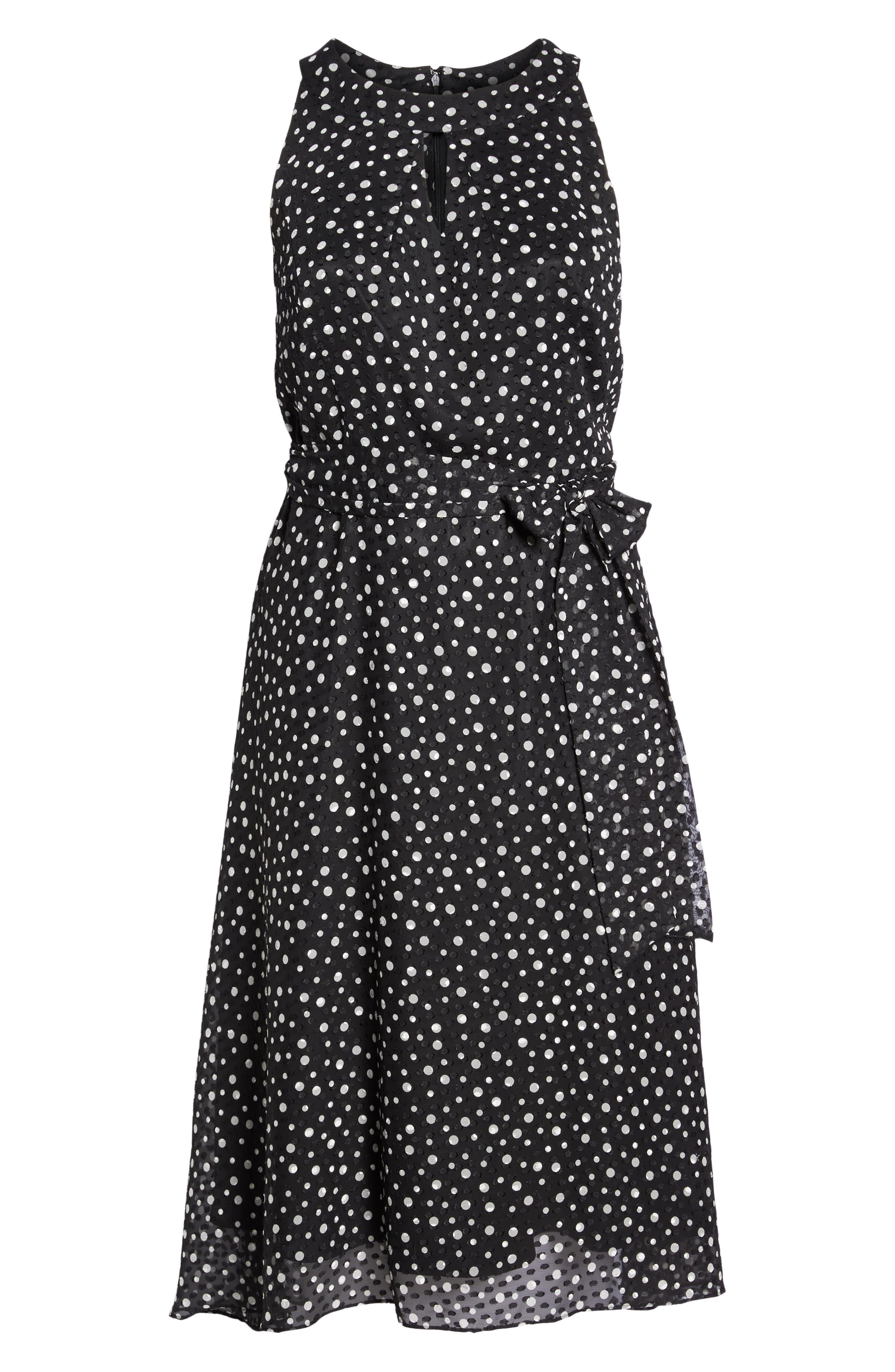 Polka Dot Keyhole Chiffon Dress,                             Alternate thumbnail 7, color,                             003