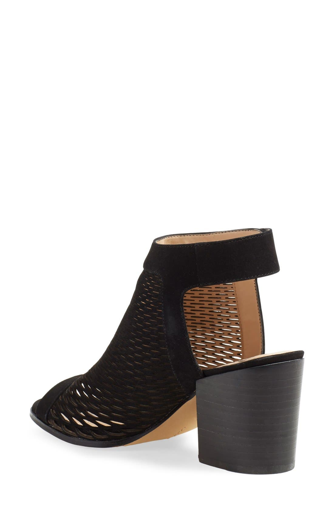 'Lavette' Perforated Peep Toe Bootie,                             Alternate thumbnail 3, color,                             001