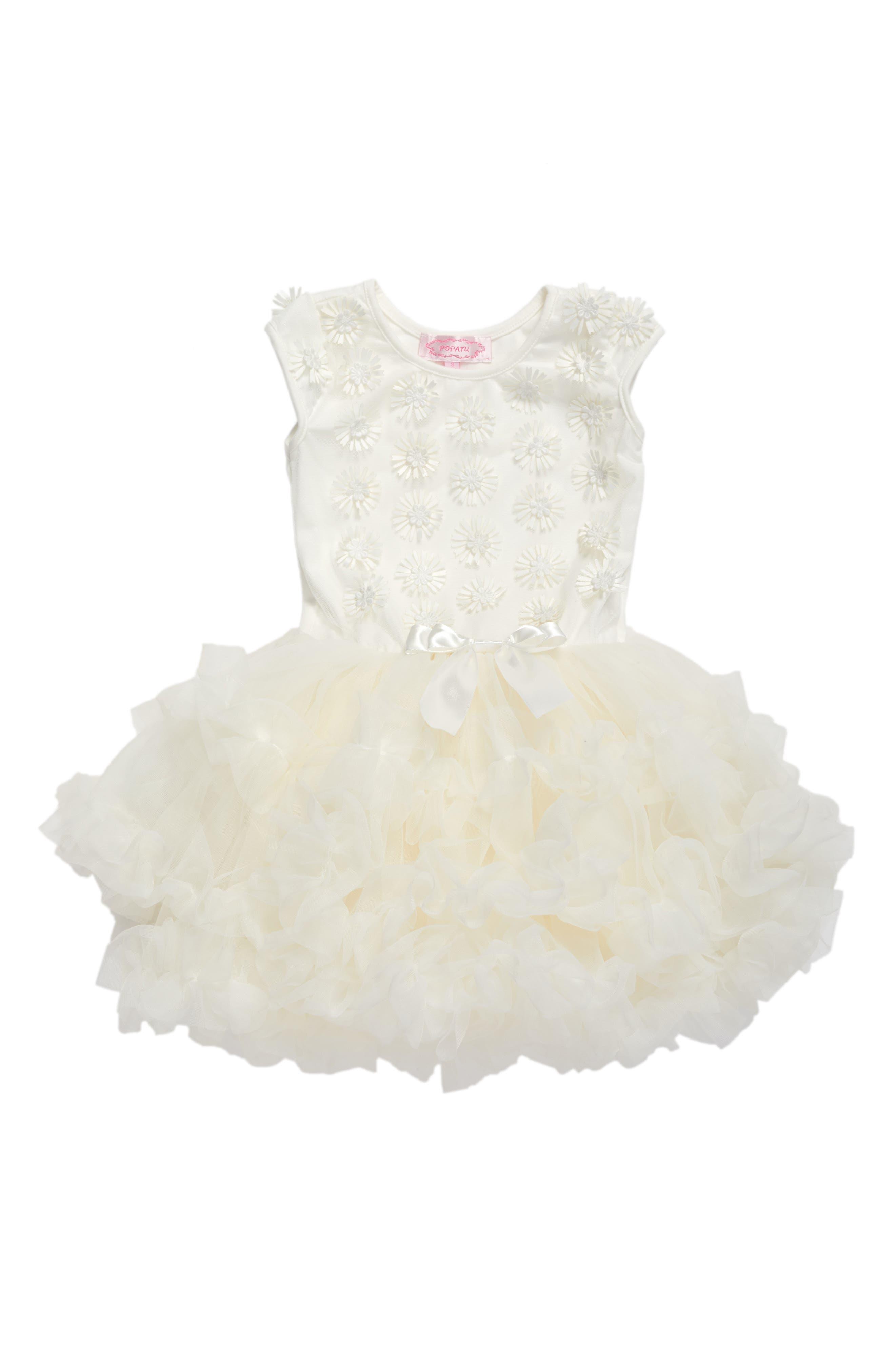 White Daisy Tutu Dress,                         Main,                         color, WHITE