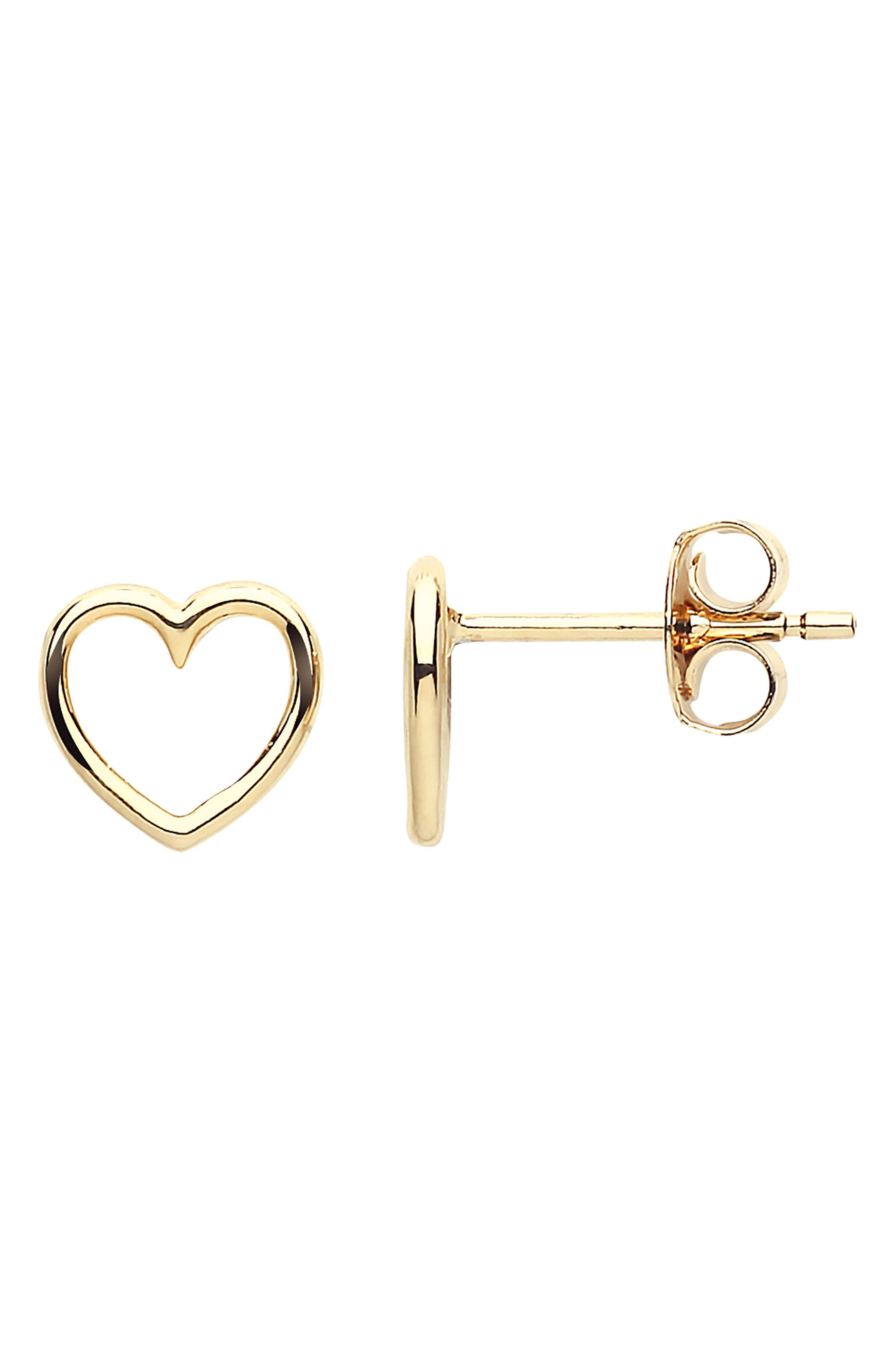 Small Open Heart Stud Earrings,                             Main thumbnail 1, color,