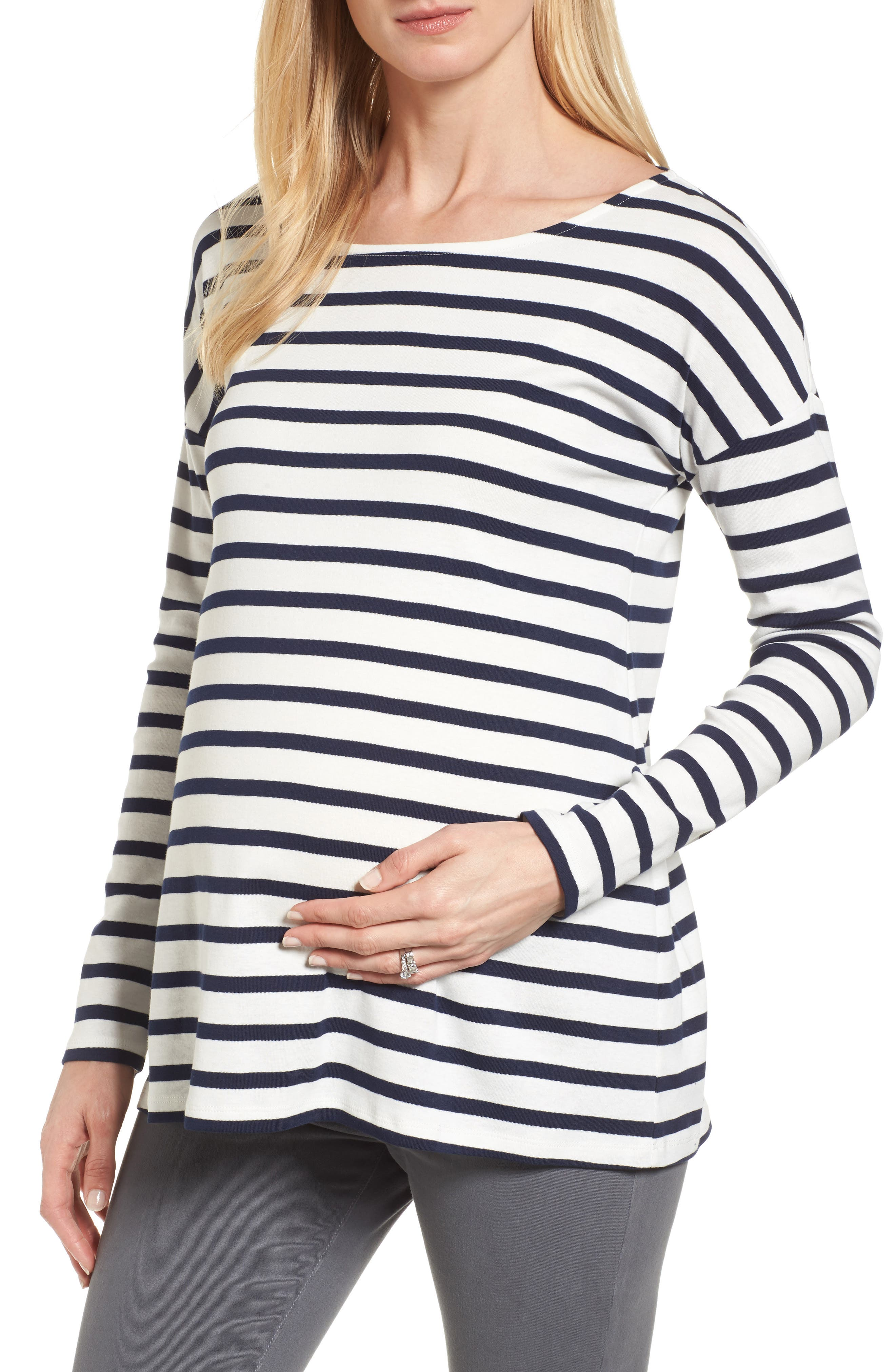 Caia Stripe Maternity Top,                             Main thumbnail 1, color,                             NAVY/ WHITE STRIPE
