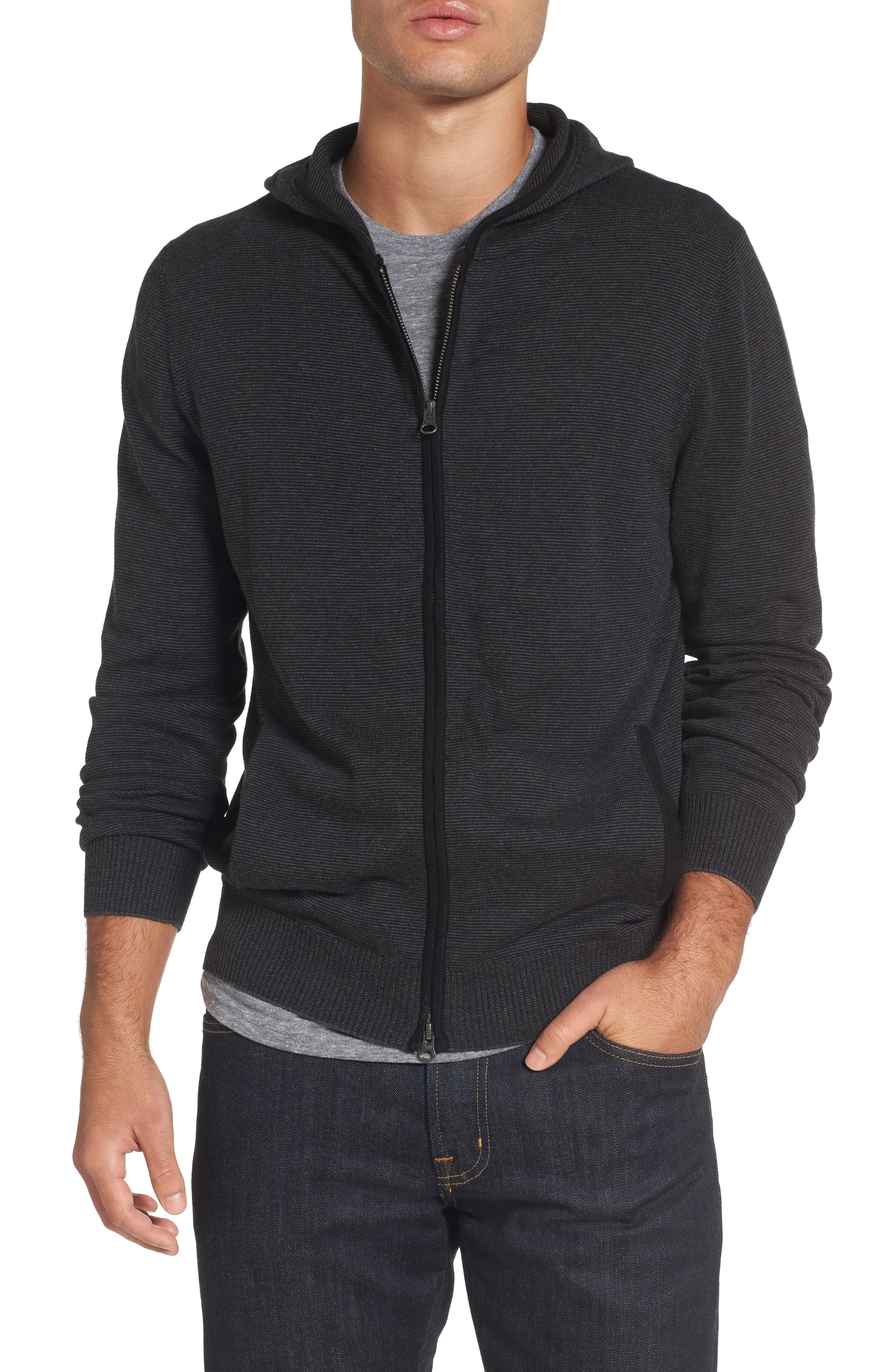 Zip Front Hooded Sweater,                         Main,                         color,