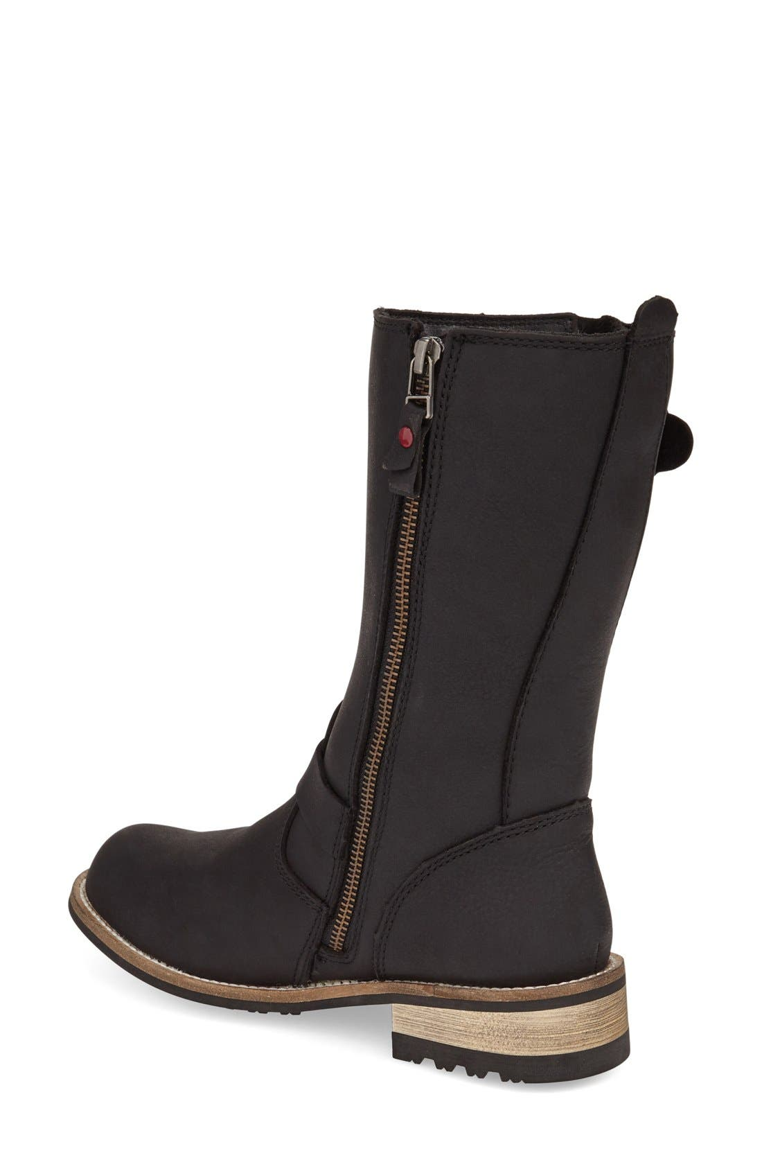 'Alcona' Waterproof Boot,                             Alternate thumbnail 2, color,                             BLACK LEATHER