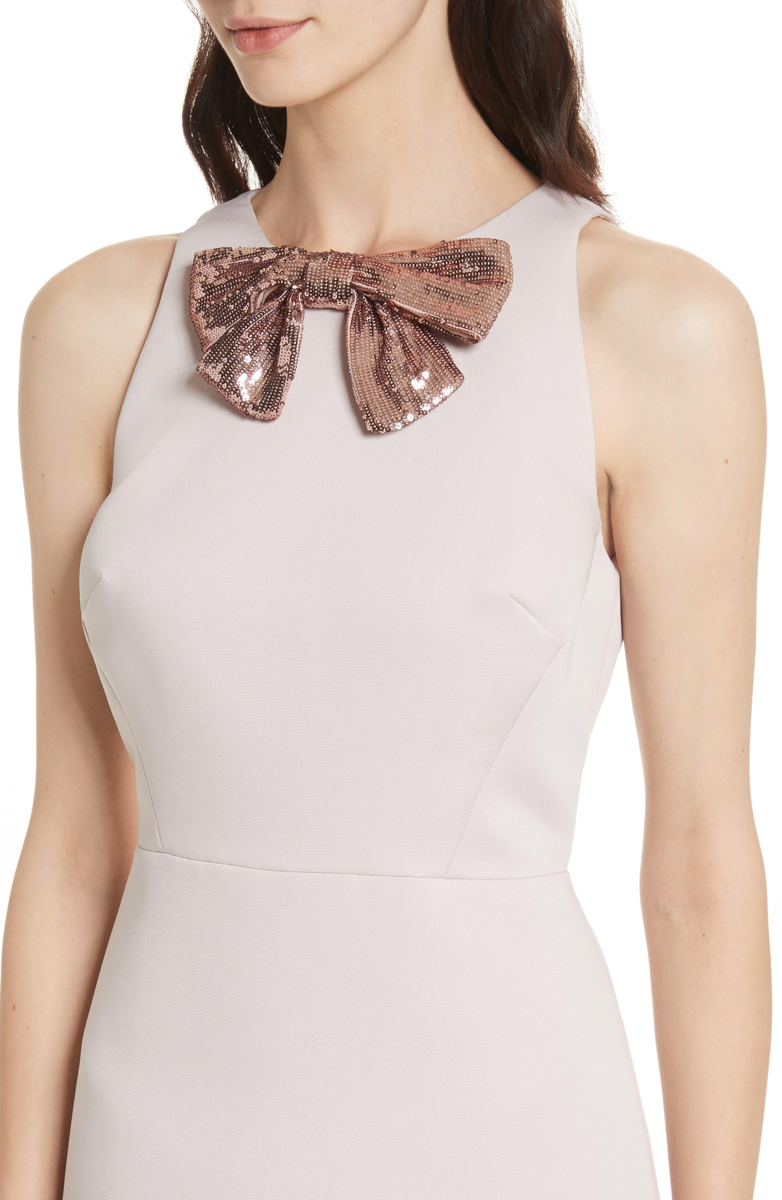 sequin bow A-line dress,                             Alternate thumbnail 4, color,                             672