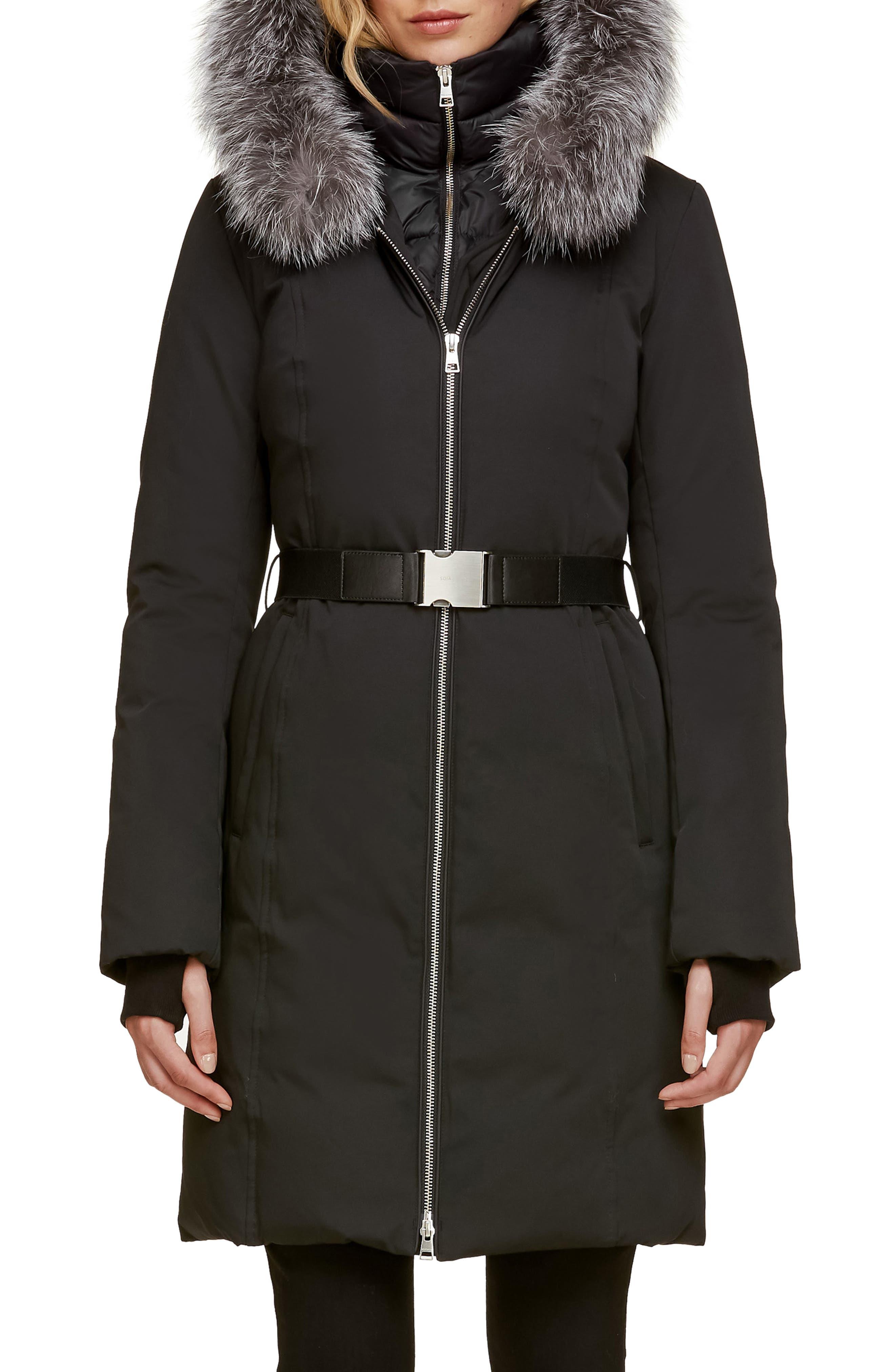 Slim Fit Water Resistant Down Jacket with Genuine Fox Fur Trim, Main, color, BLACK