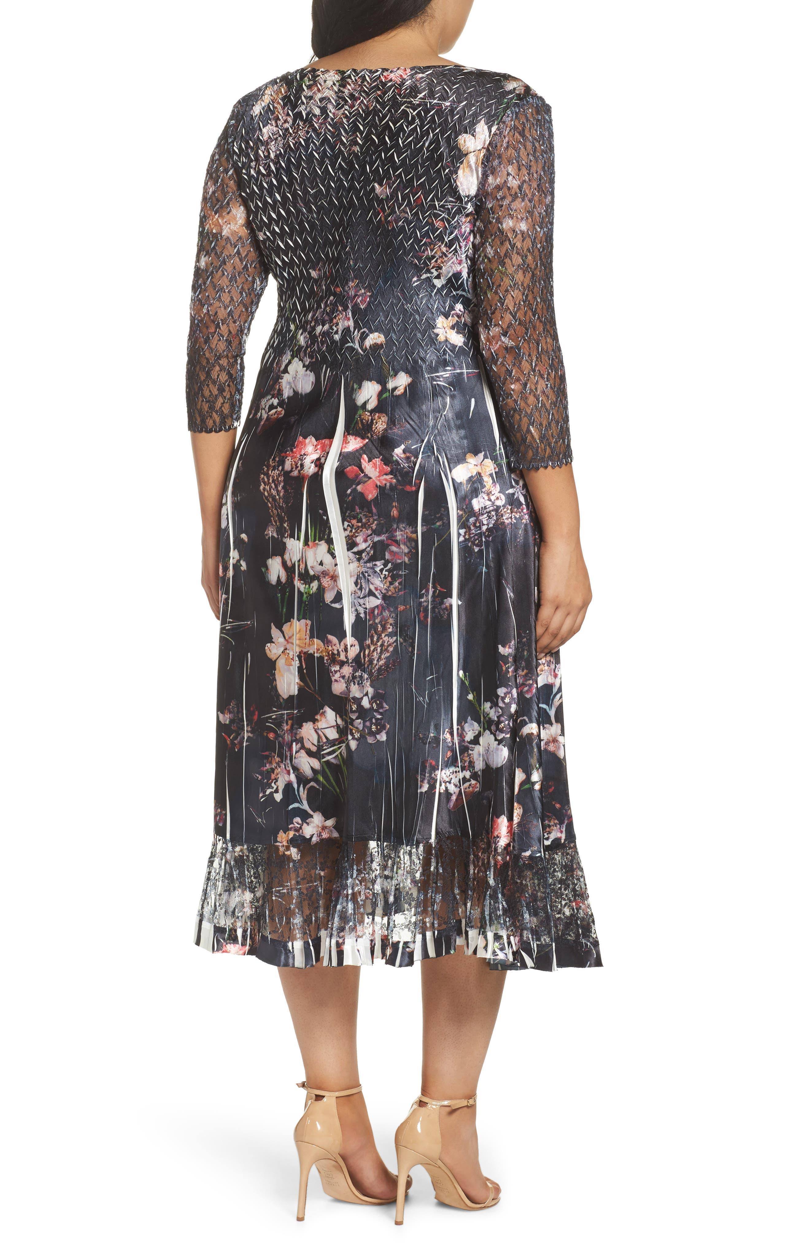 Lace Inset Floral Chiffon A-Line Dress,                             Alternate thumbnail 2, color,                             404