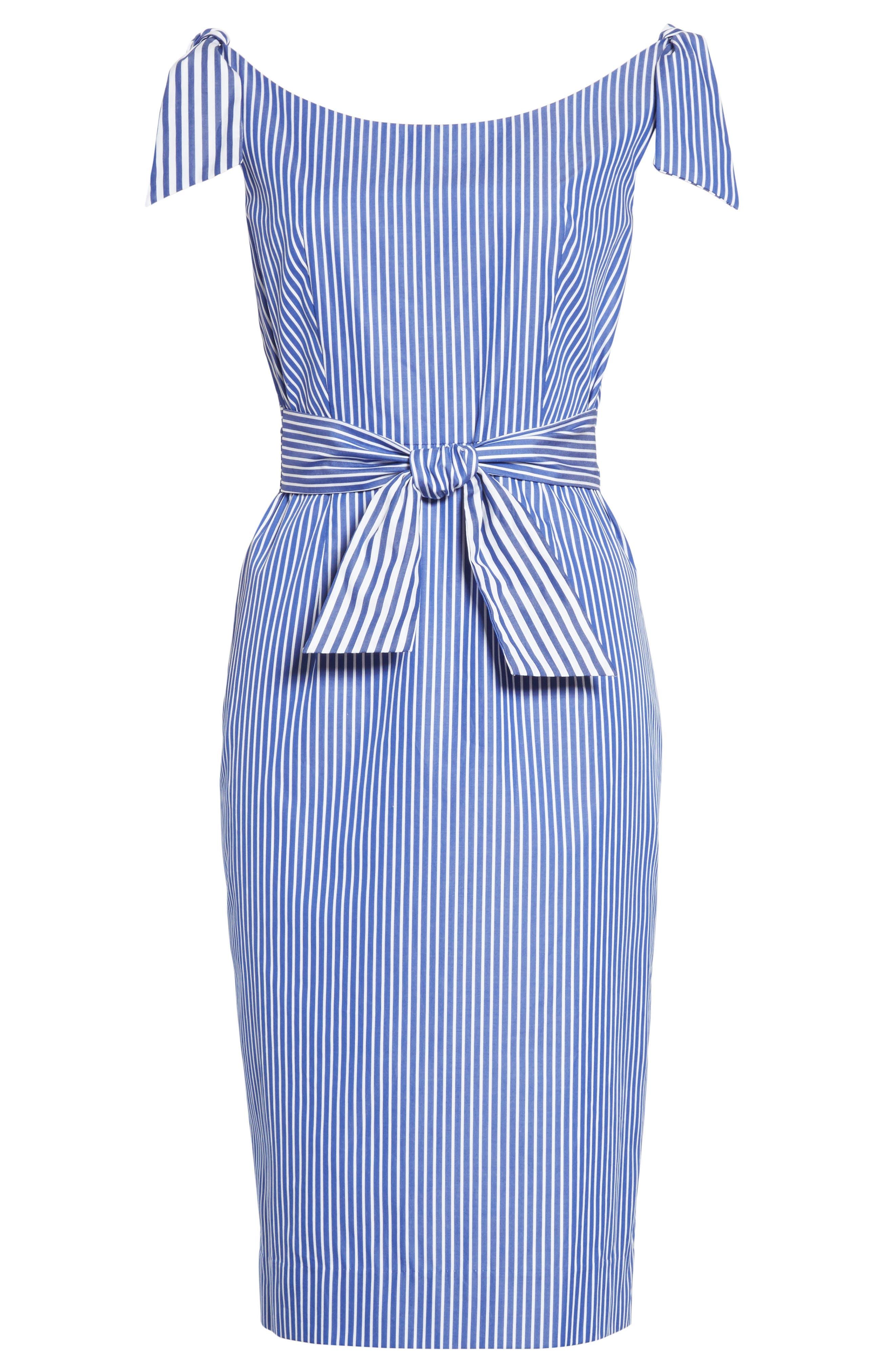 Candice Stripe Shirting Tie Dress,                             Alternate thumbnail 6, color,