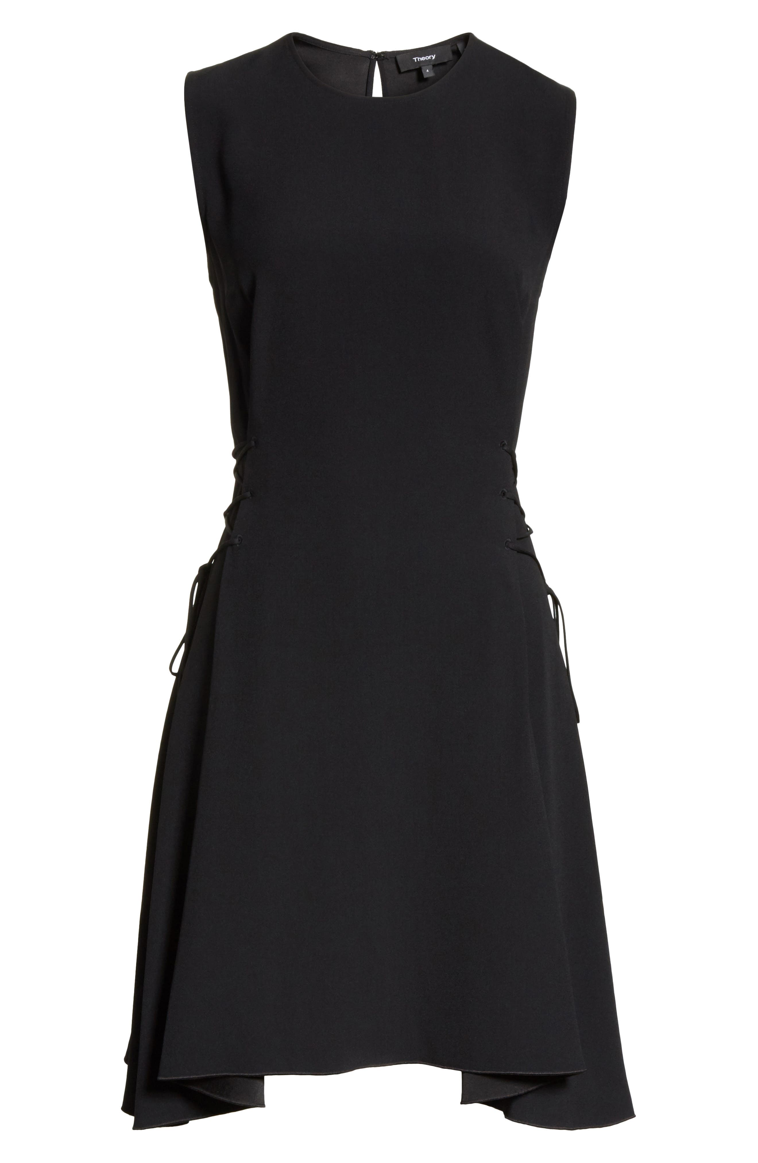 Lace-Up Fit & Flare Dress,                             Alternate thumbnail 6, color,                             001