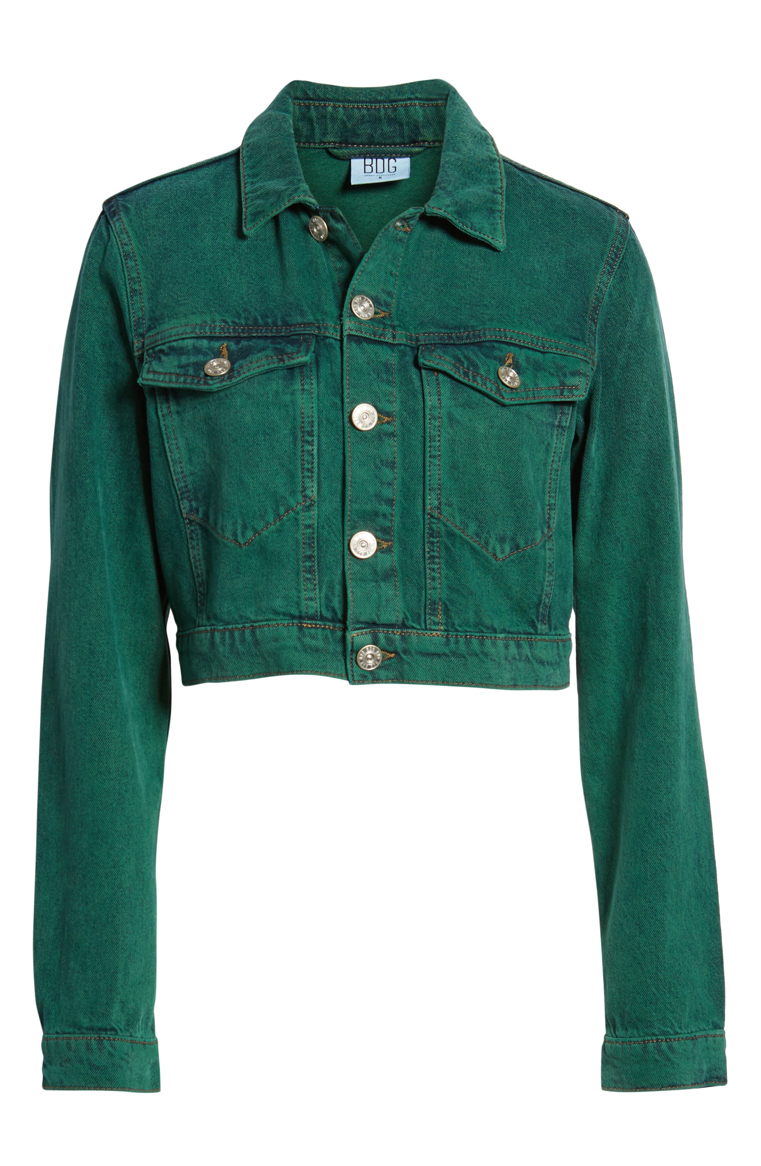 Urban Outfitters Overdyed Crop Denim Jacket,                             Alternate thumbnail 6, color,                             300