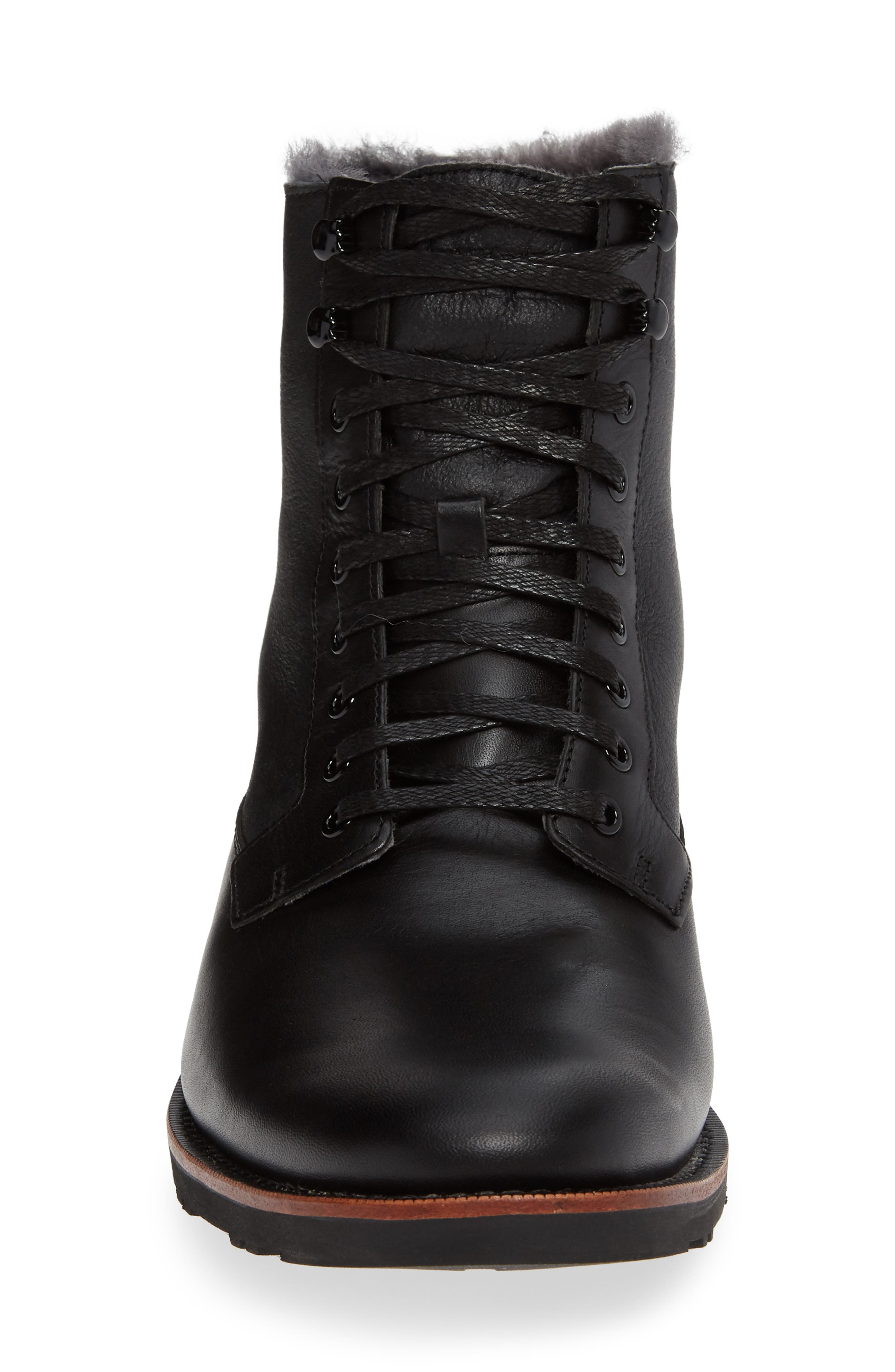 Kendrick Genuine Shearling Boot,                             Alternate thumbnail 4, color,                             JET BLACK W/ CRACKLE SHEARLING