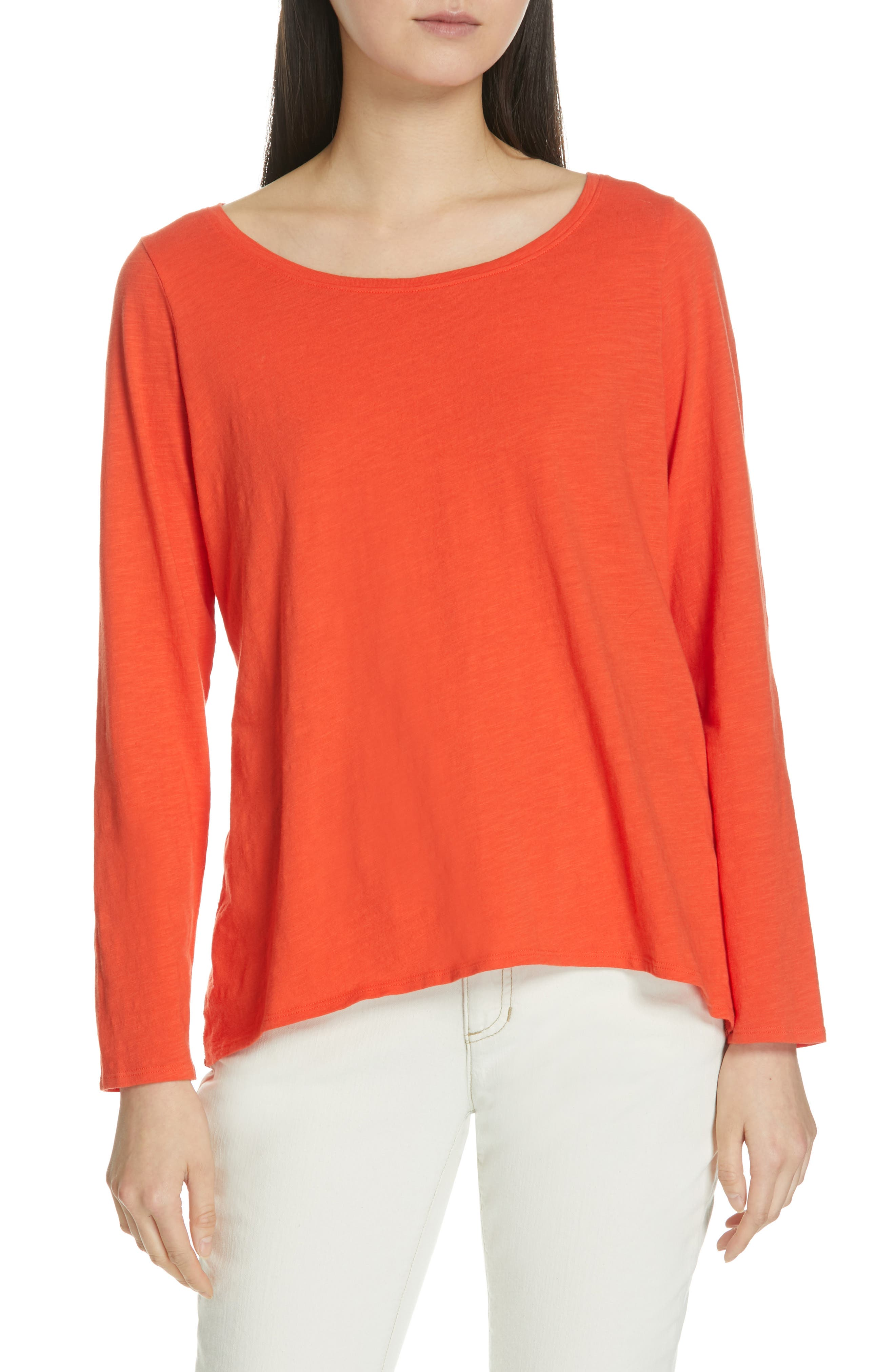 Eileen Fisher Long Sleeve Organic Cotton Tee, Red