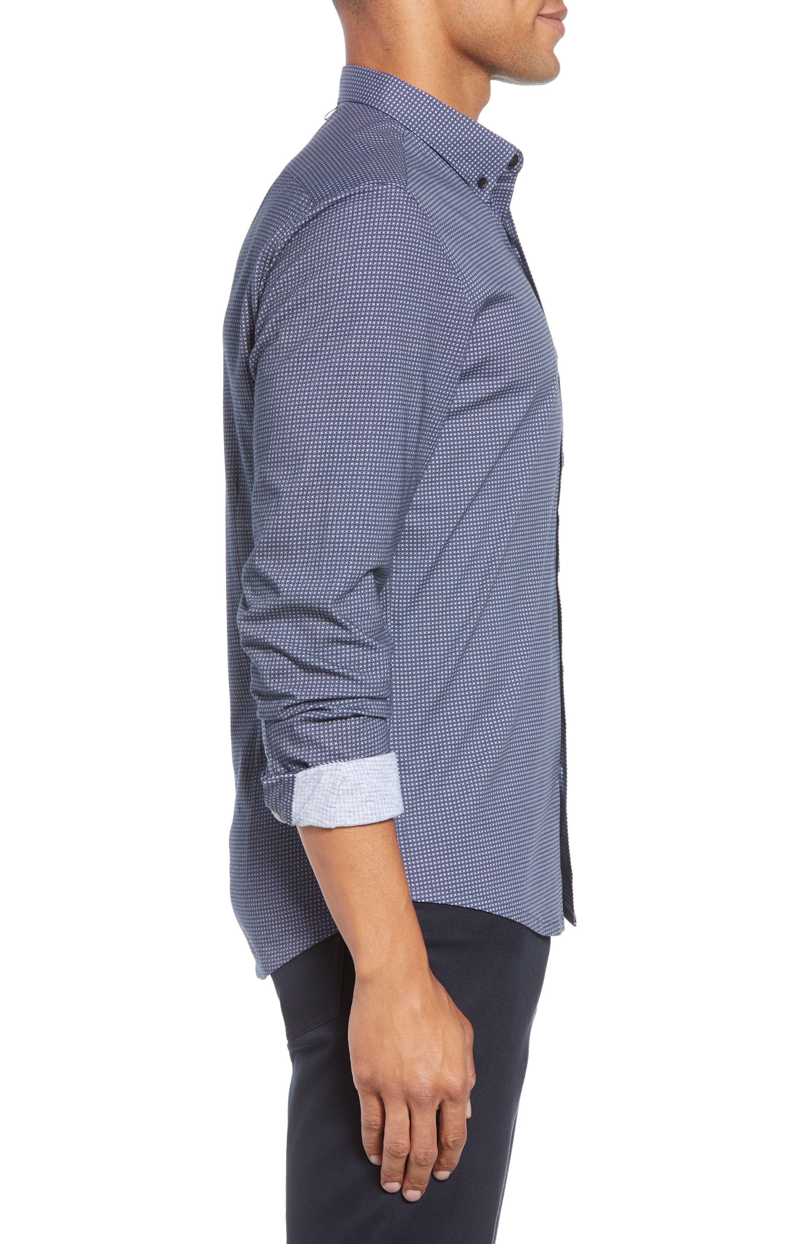 Reworked Slim Fit Grid Print Sport Shirt,                             Alternate thumbnail 4, color,                             410