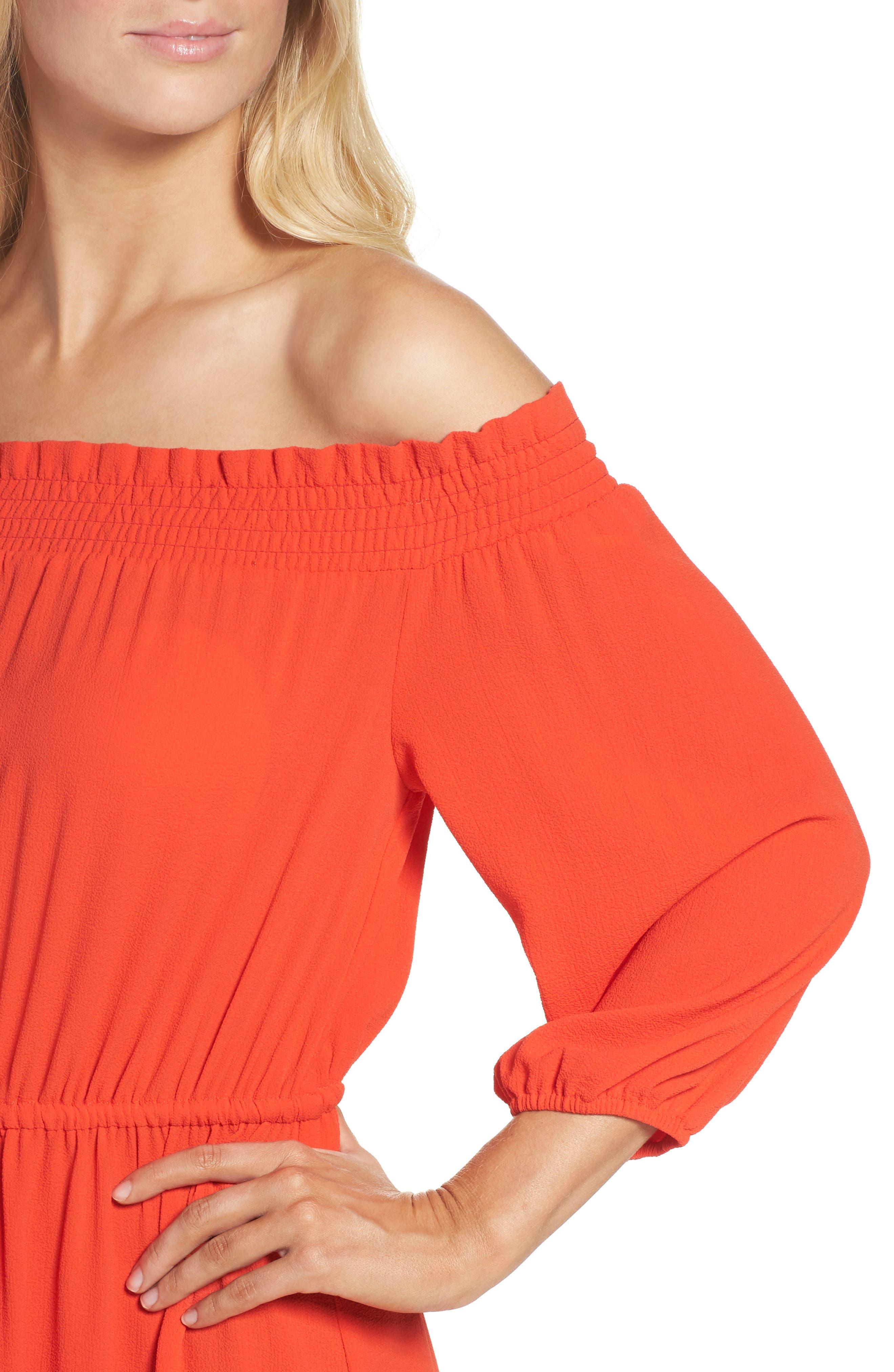 Off the Shoulder Crepe Dress,                             Alternate thumbnail 4, color,                             952
