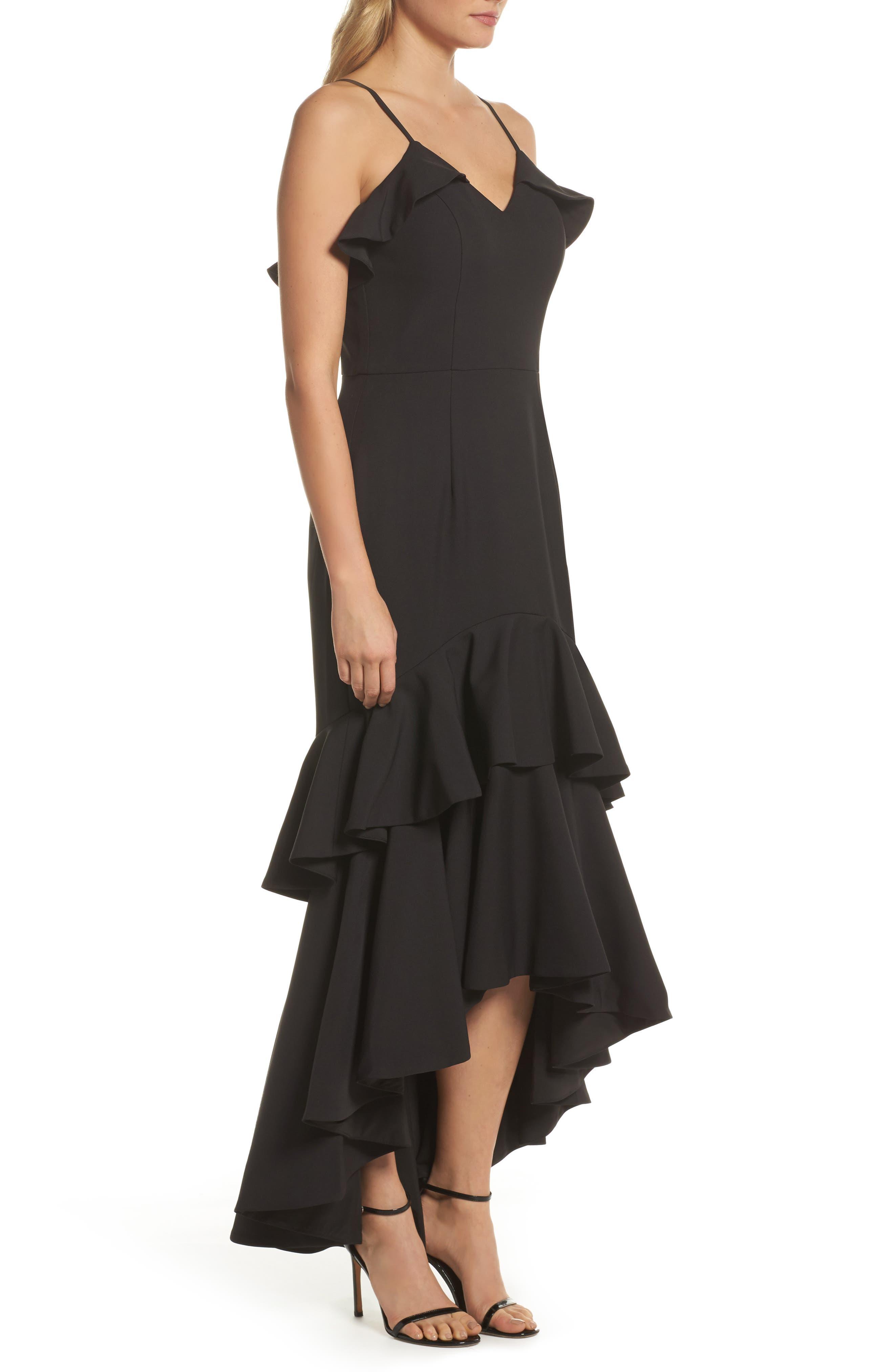 Mina Ruffle Gown,                             Alternate thumbnail 3, color,                             001