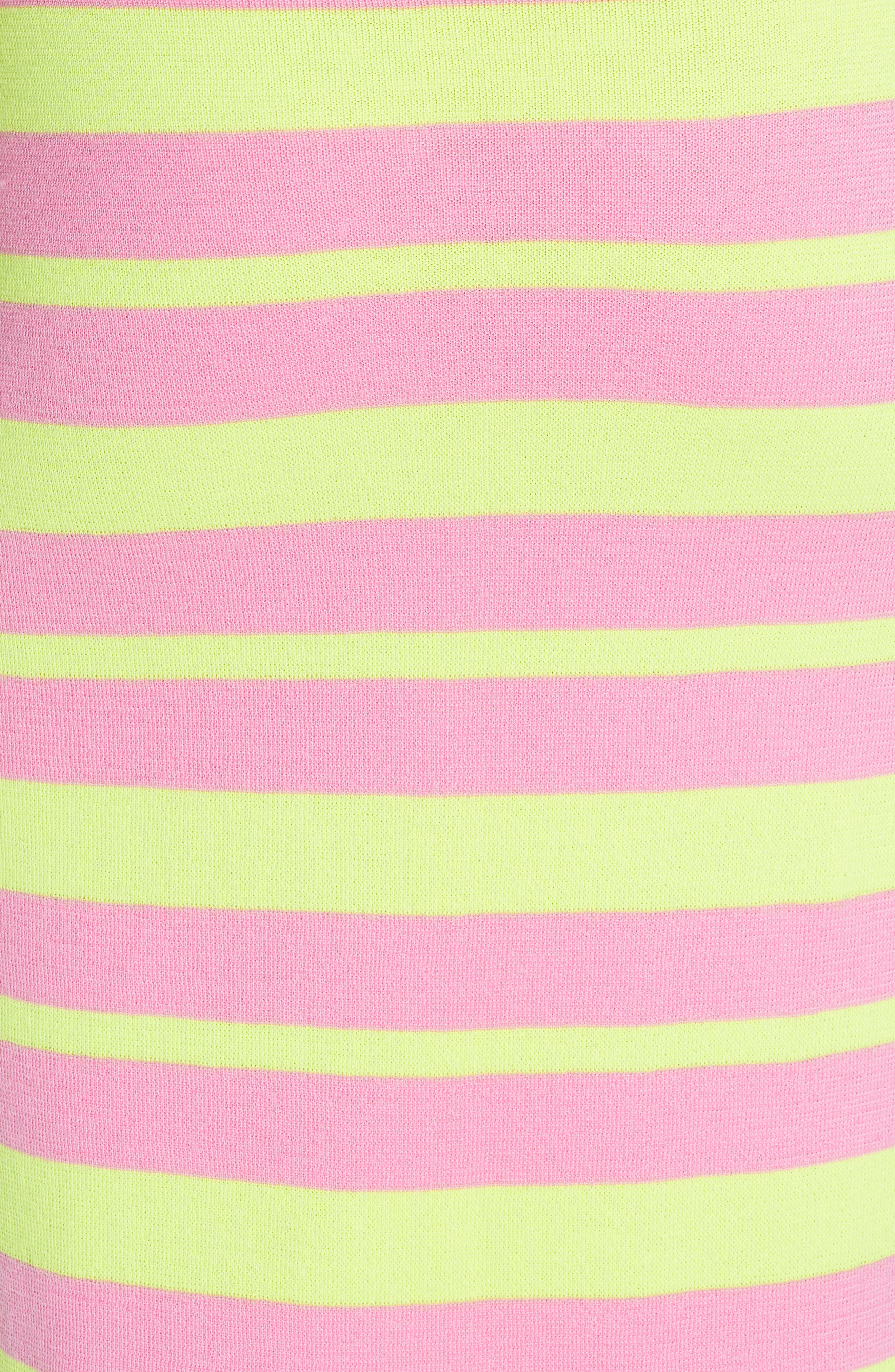 Stripe Knit Maxi Skirt,                             Alternate thumbnail 5, color,                             LIME AND PINK COMBO