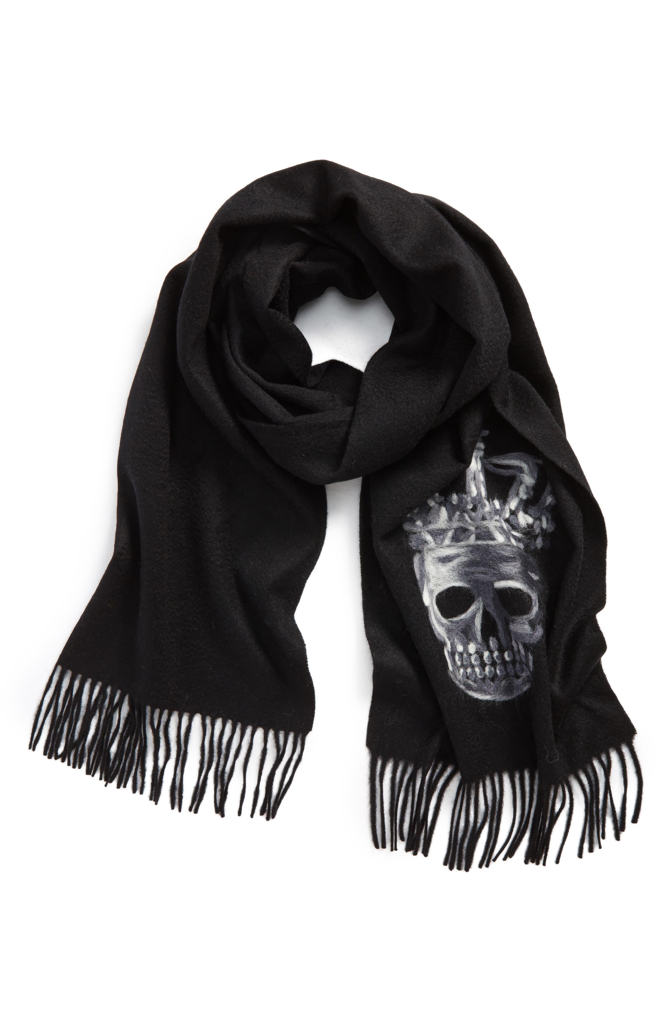 Skull Wool Scarf,                         Main,                         color, 001