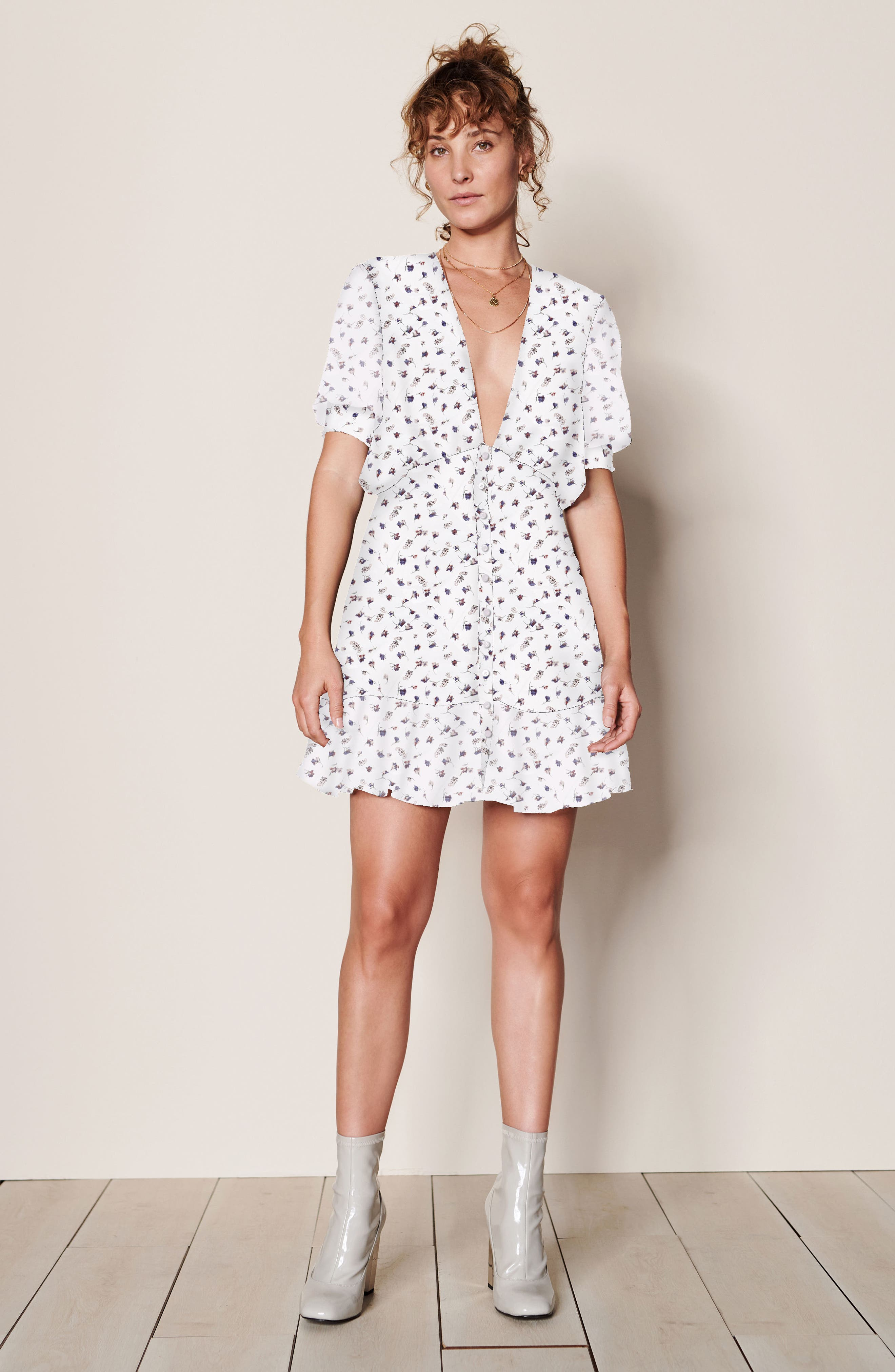 Mabel Minidress,                             Alternate thumbnail 2, color,                             WHITE BASE FLORAL PRINT