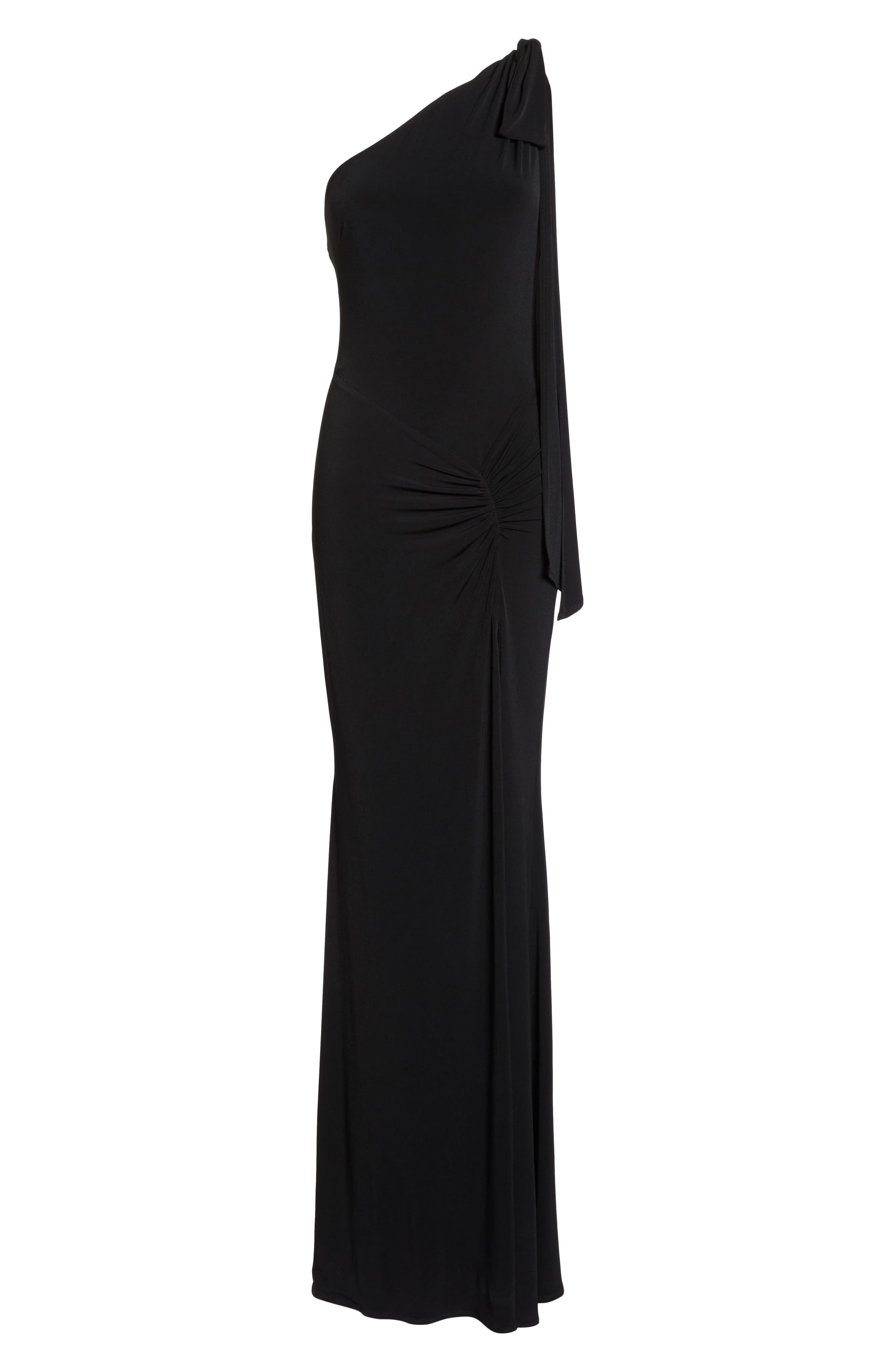 KATIE MAY,                             One-Shoulder Gown,                             Alternate thumbnail 7, color,                             BLACK