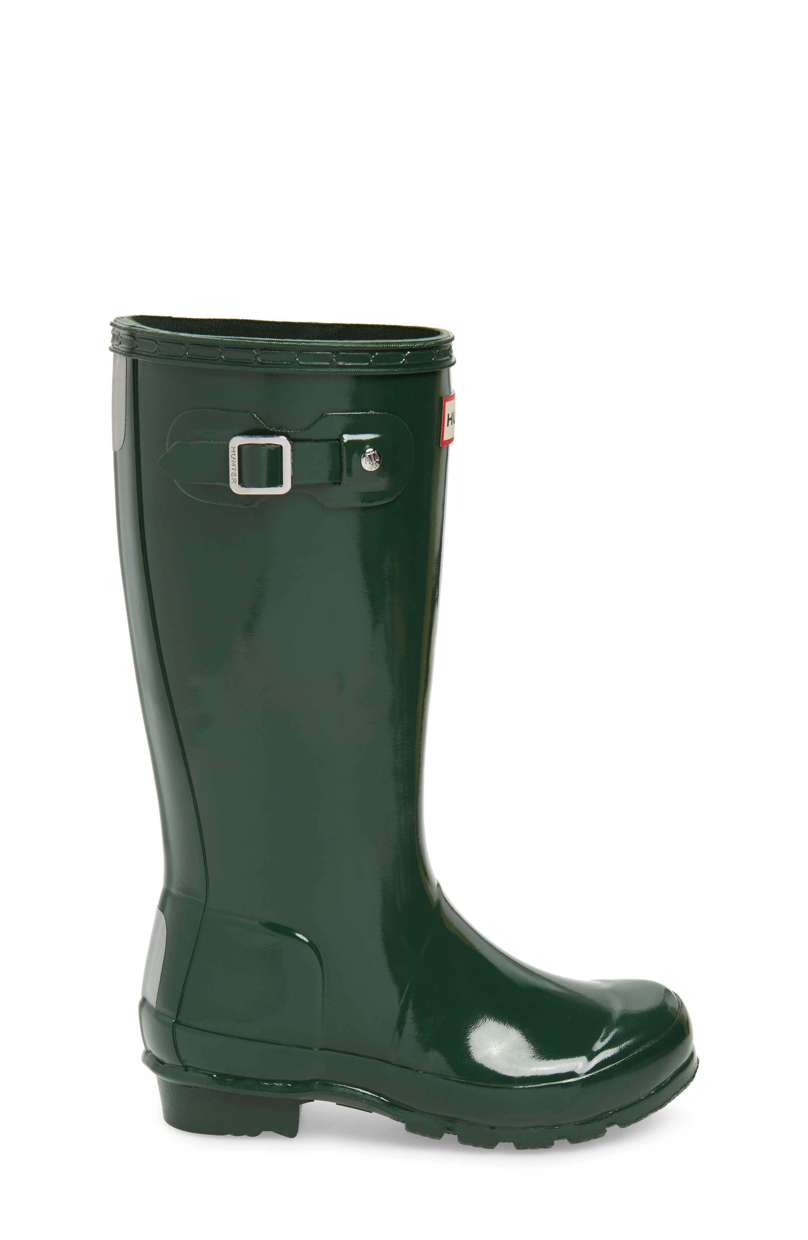 Original Gloss Rain Boot,                             Alternate thumbnail 3, color,                             HUNTER GREEN
